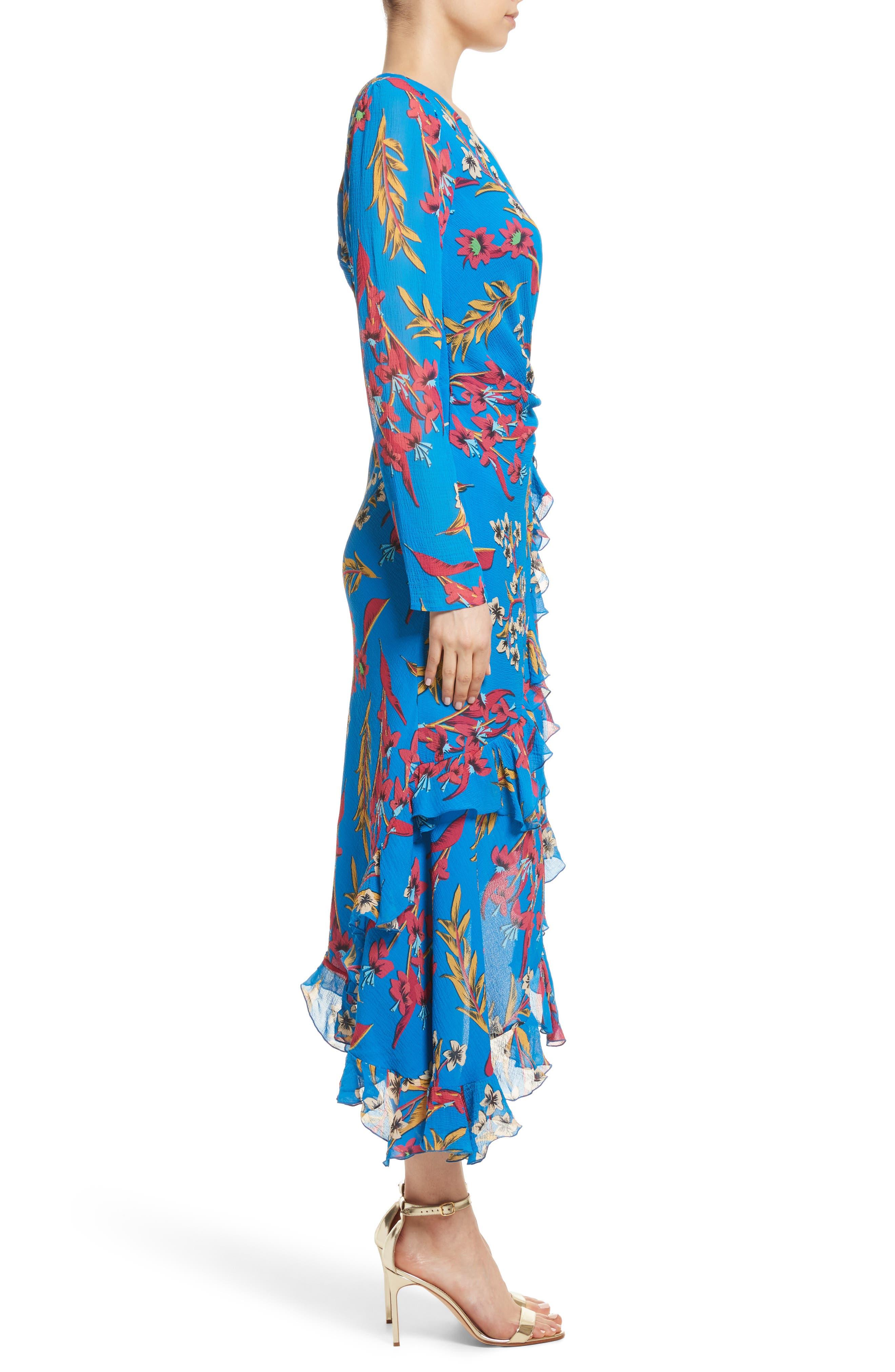 Jungle Floral Print Asymmetrical Ruffle Dress,                             Alternate thumbnail 3, color,                             410