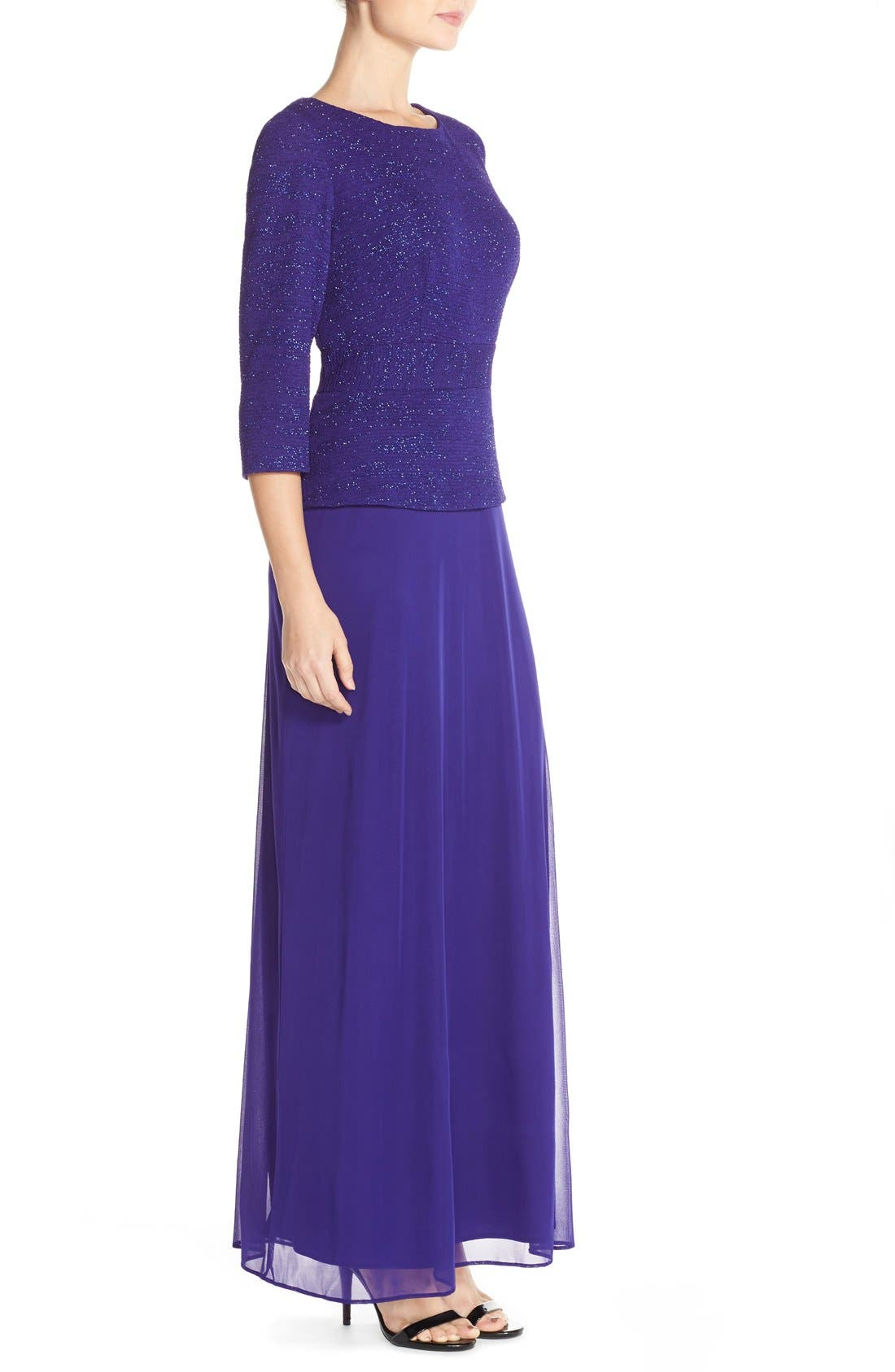 Jacquard & Chiffon Mock Two-Piece Gown,                             Alternate thumbnail 4, color,                             400