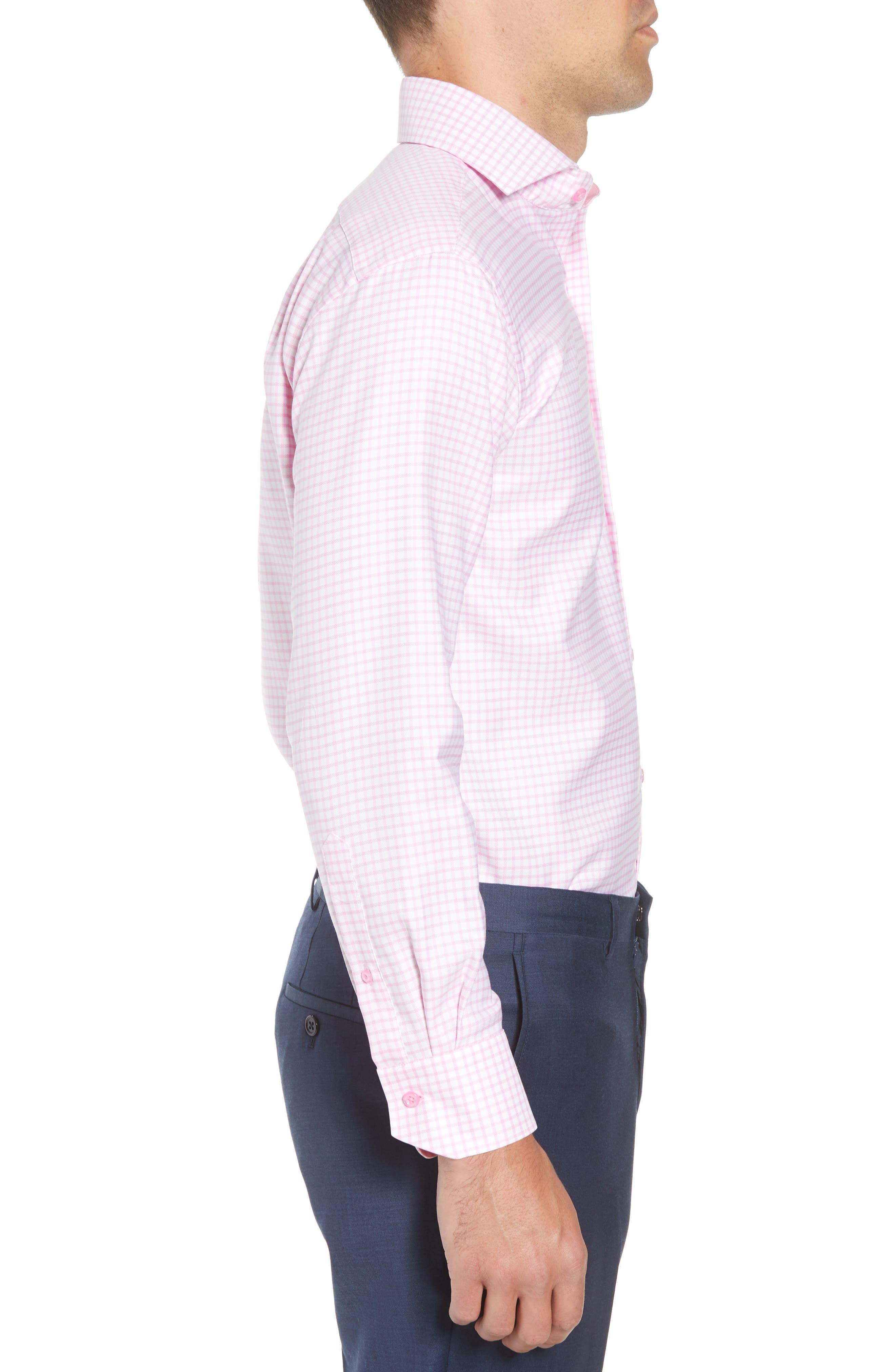 Trim Fit Check Dress Shirt,                             Alternate thumbnail 4, color,                             680
