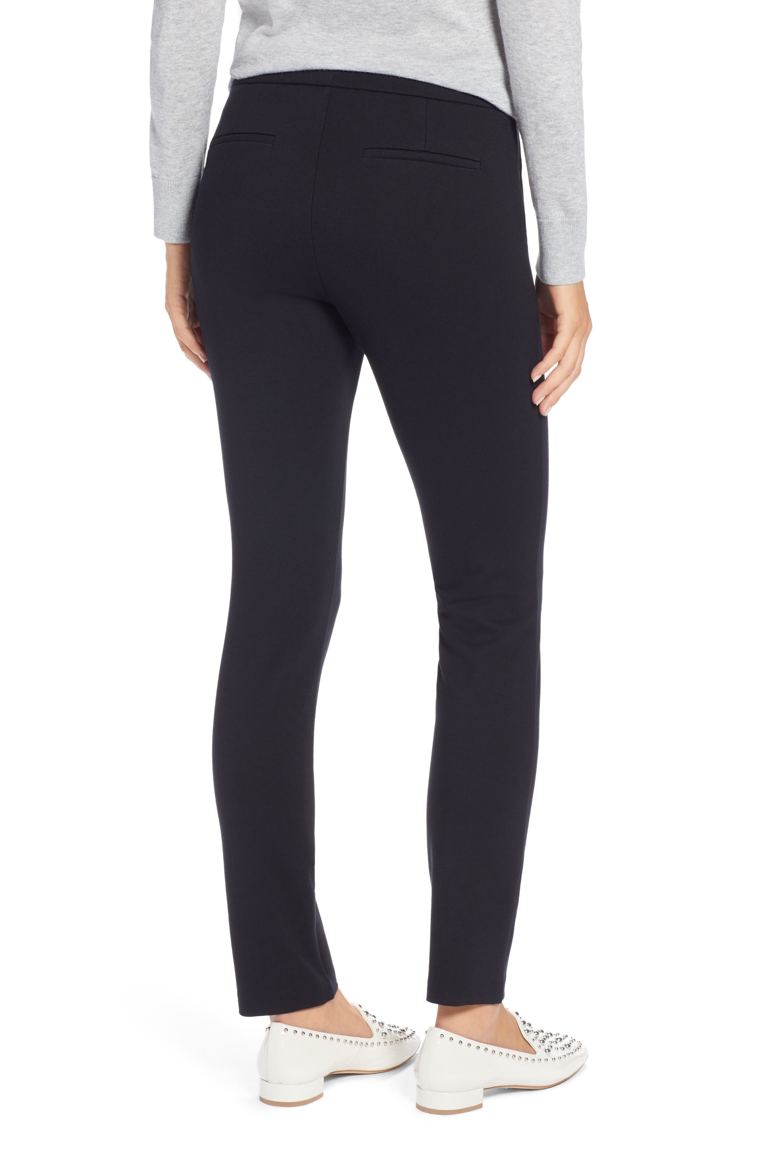 HALOGEN<SUP>®</SUP>,                             Ponte Skinny Pants,                             Alternate thumbnail 2, color,                             BLACK