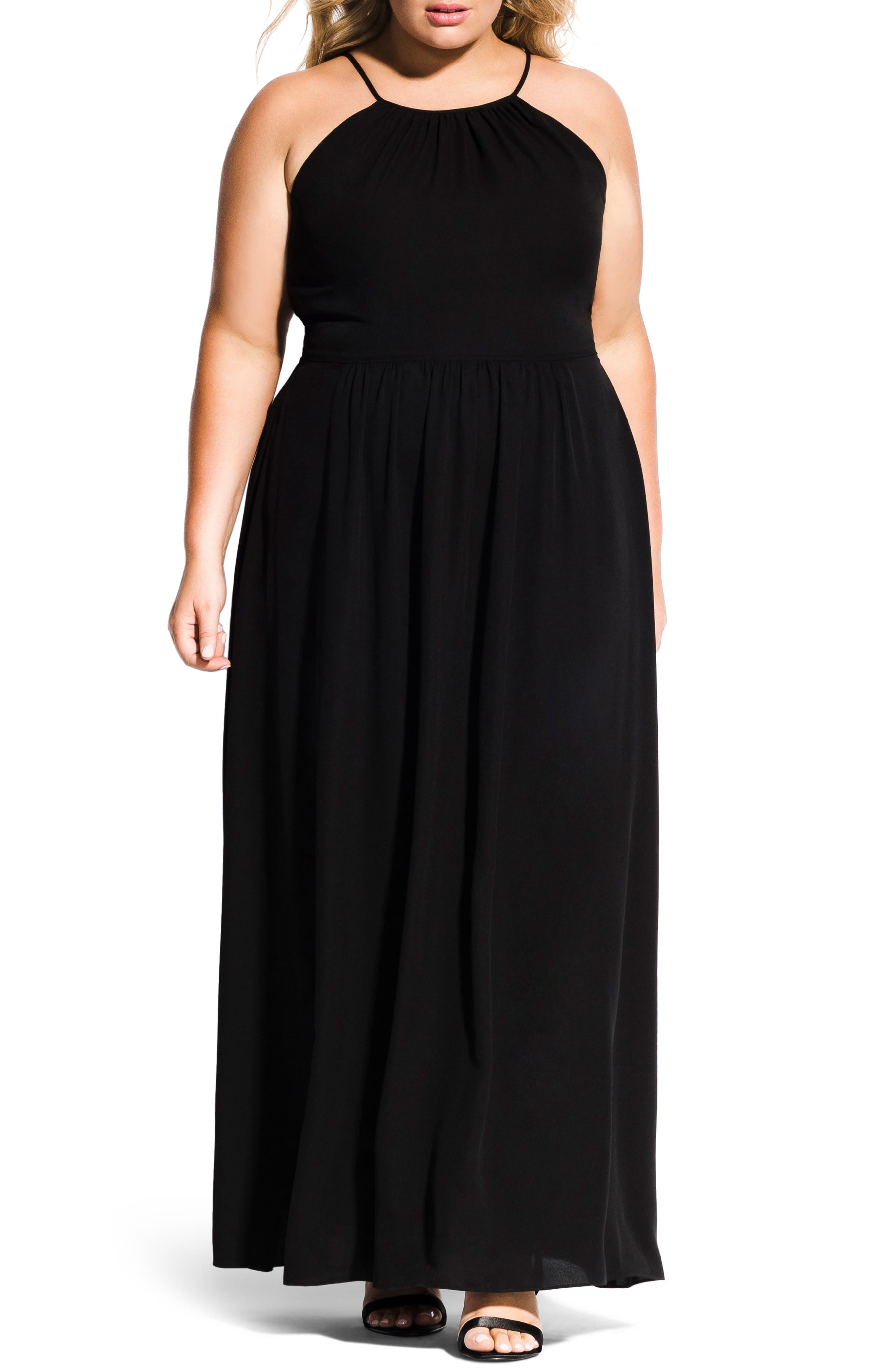 Devotion Maxi Dress,                         Main,                         color, BLACK