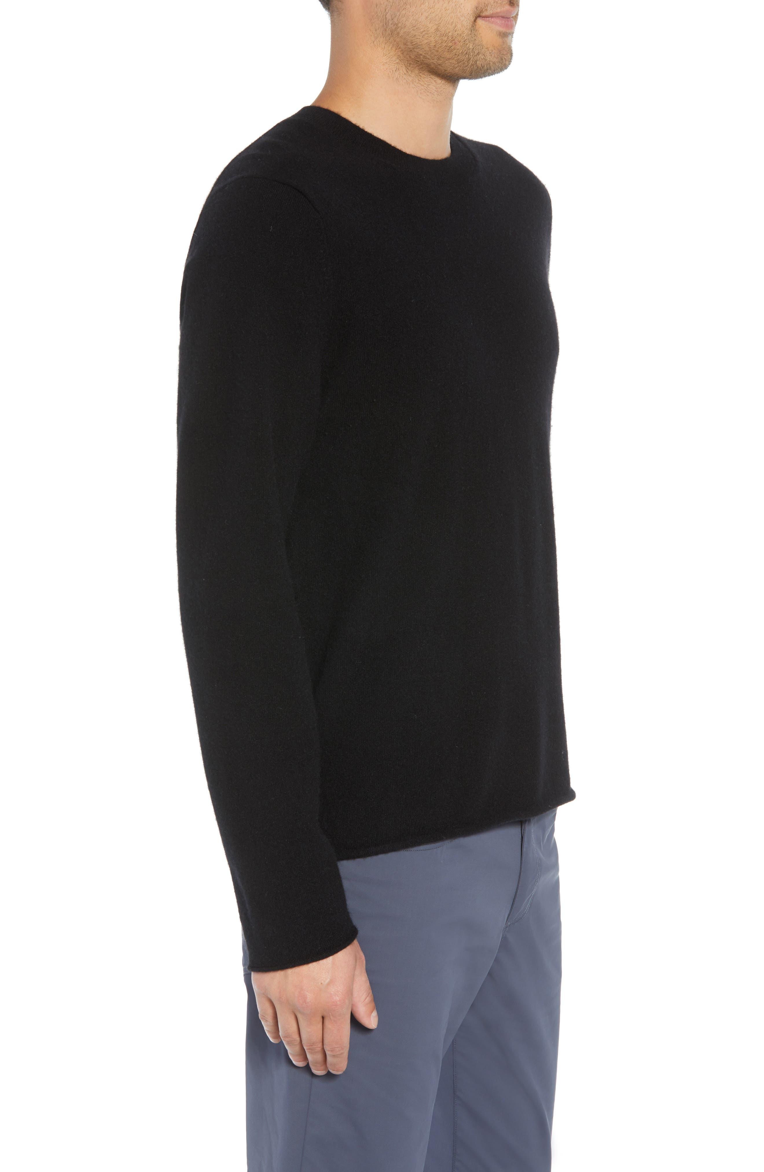 Regular Fit Cashmere Sweater,                             Alternate thumbnail 3, color,                             BLACK
