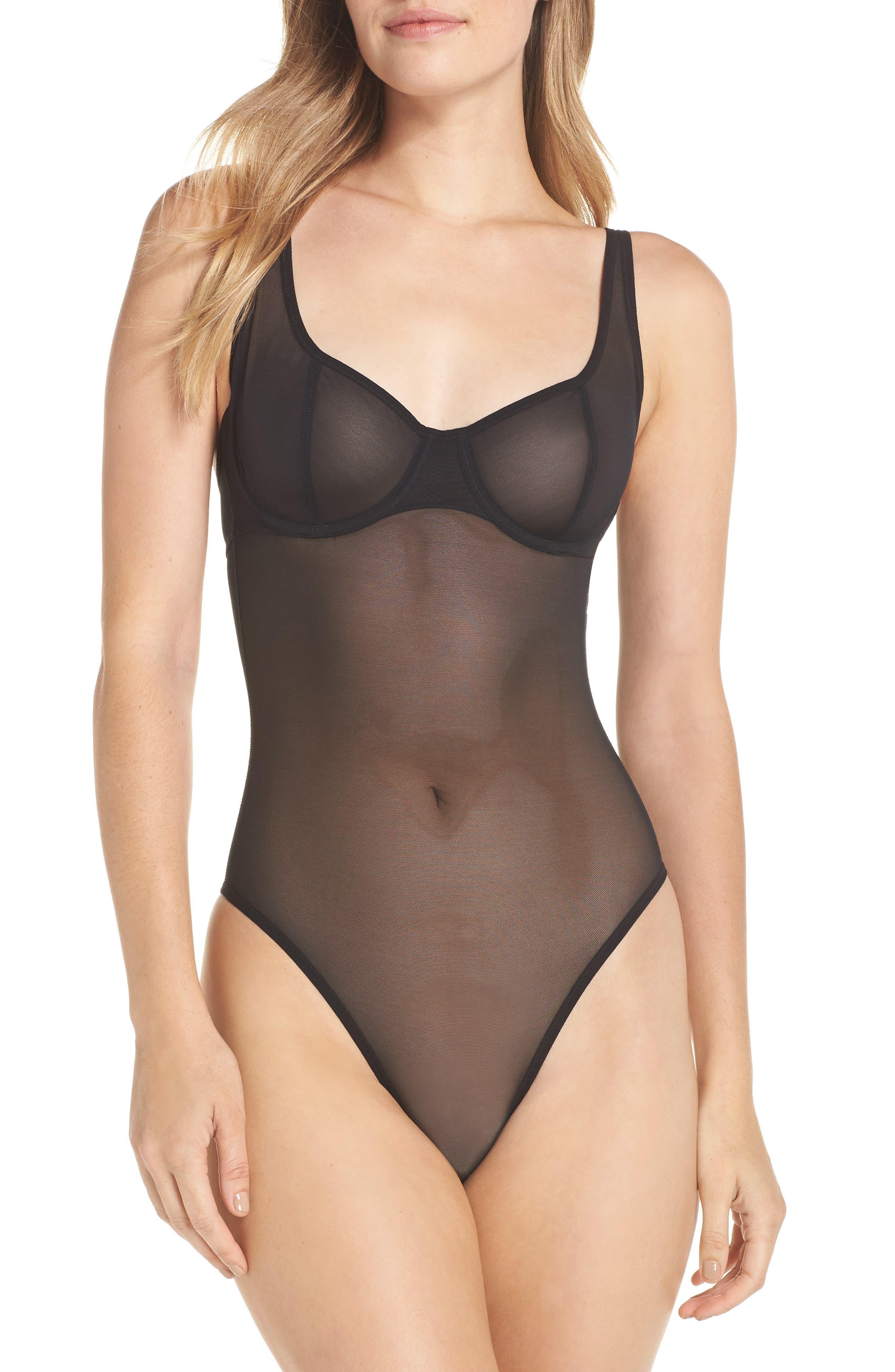 Seductive Silhouette Bodysuit,                             Main thumbnail 1, color,                             BLACK