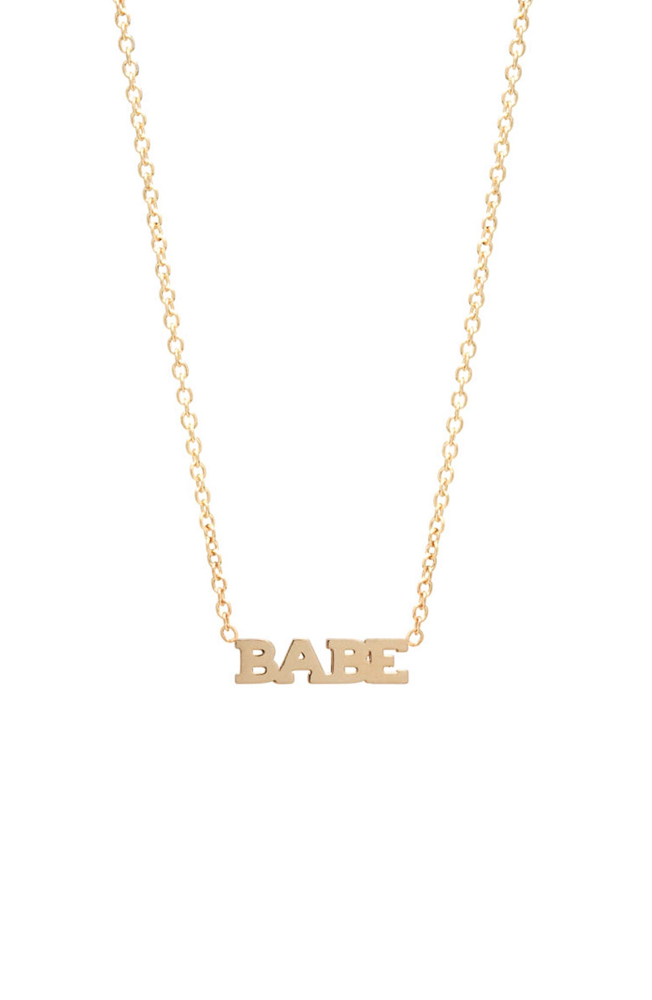Itty Bitty Typographical Pendant Necklace,                             Main thumbnail 1, color,                             YELLOW GOLD