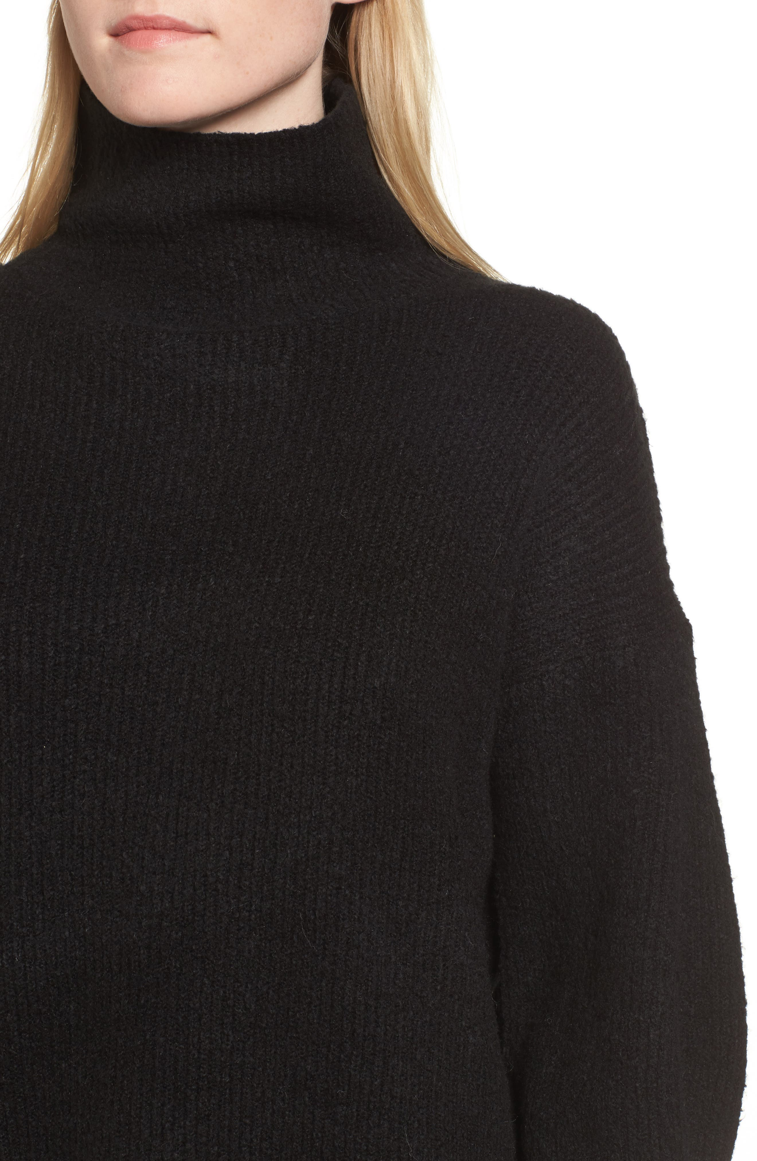 Urban Flossy Turtleneck Sweater,                             Alternate thumbnail 4, color,                             001