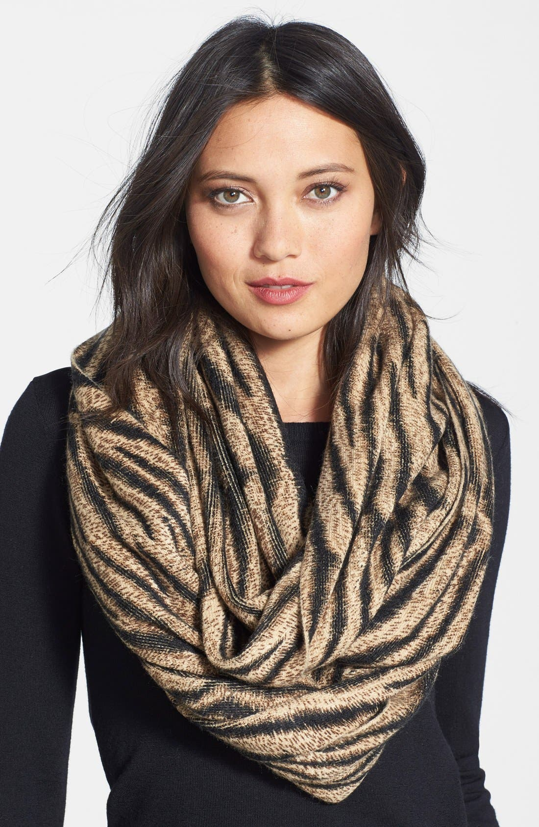 'Beobob' Tiger Print Infinity Scarf, Main, color, 200