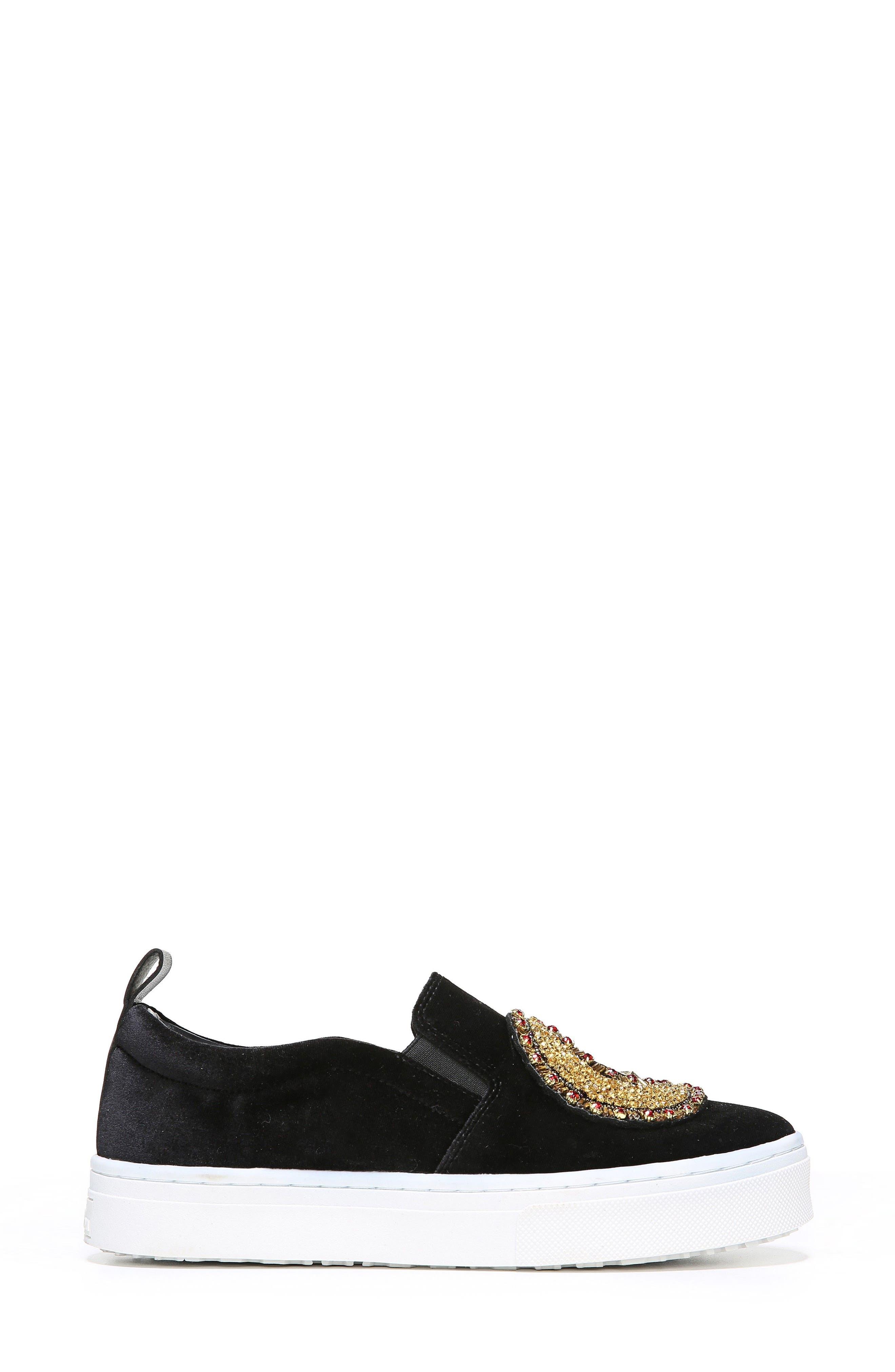 Leila Embellished Platform Sneaker,                             Alternate thumbnail 4, color,                             001