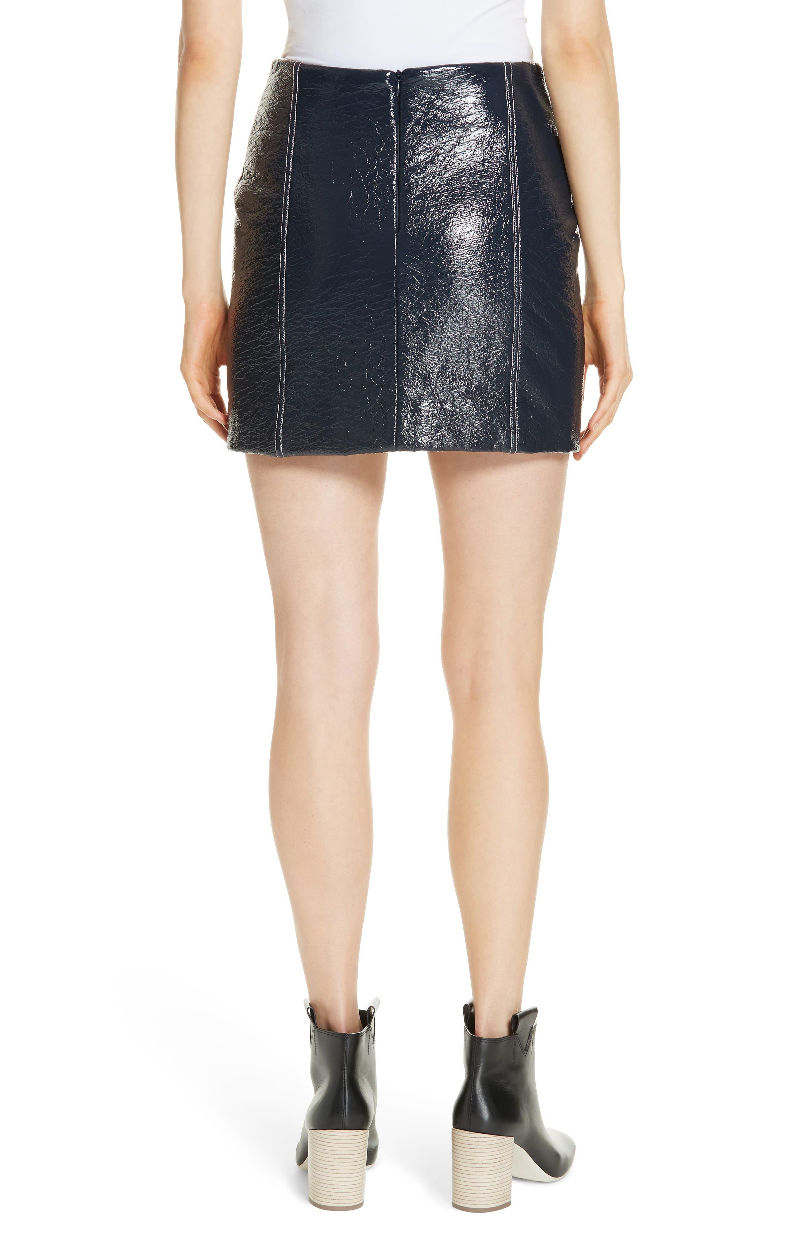 Vara Crinkle Faux Patent Leather Miniskirt,                             Alternate thumbnail 2, color,                             400