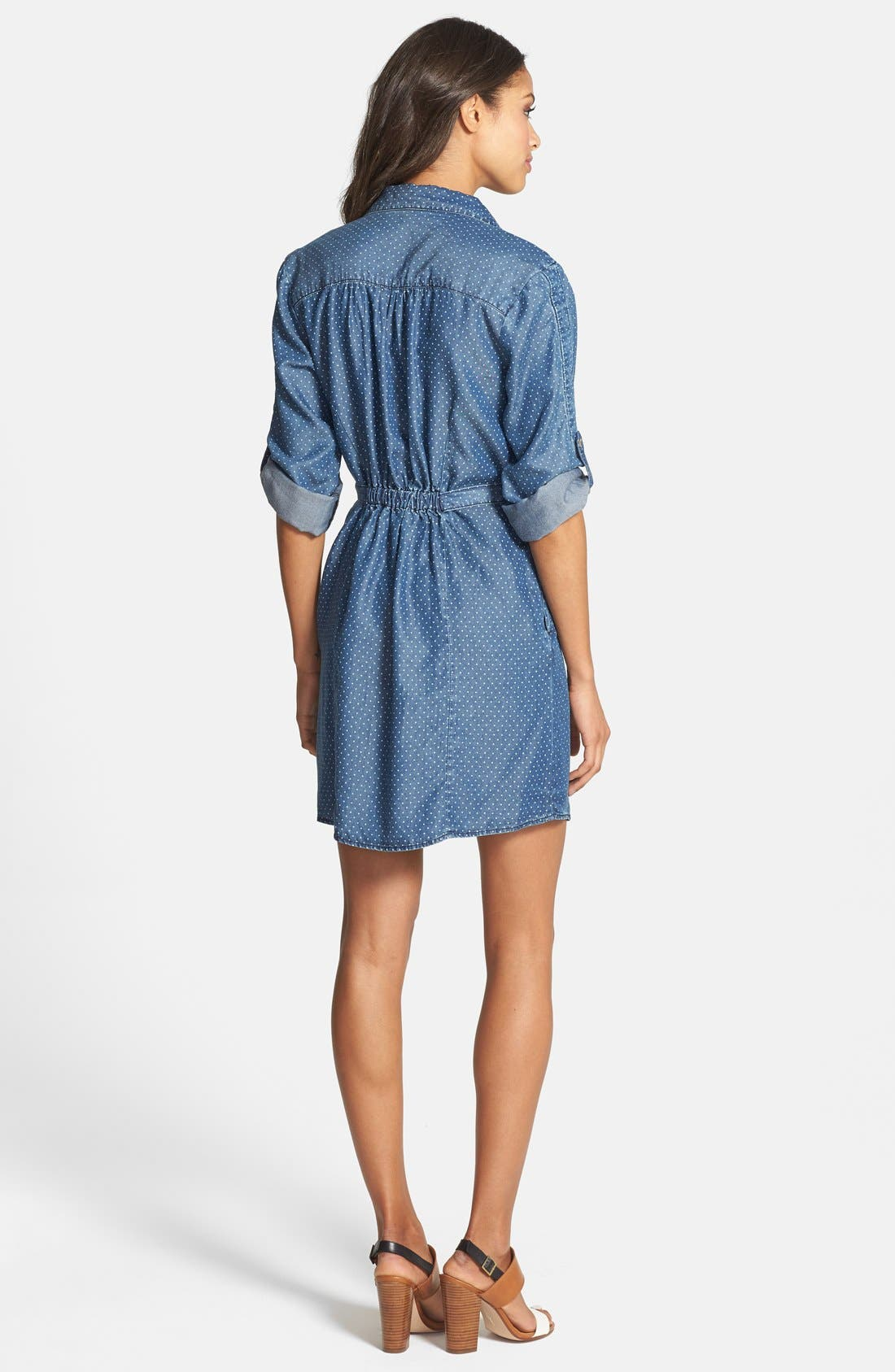 'Erin' Pin Dot Shirtdress,                             Alternate thumbnail 4, color,                             420