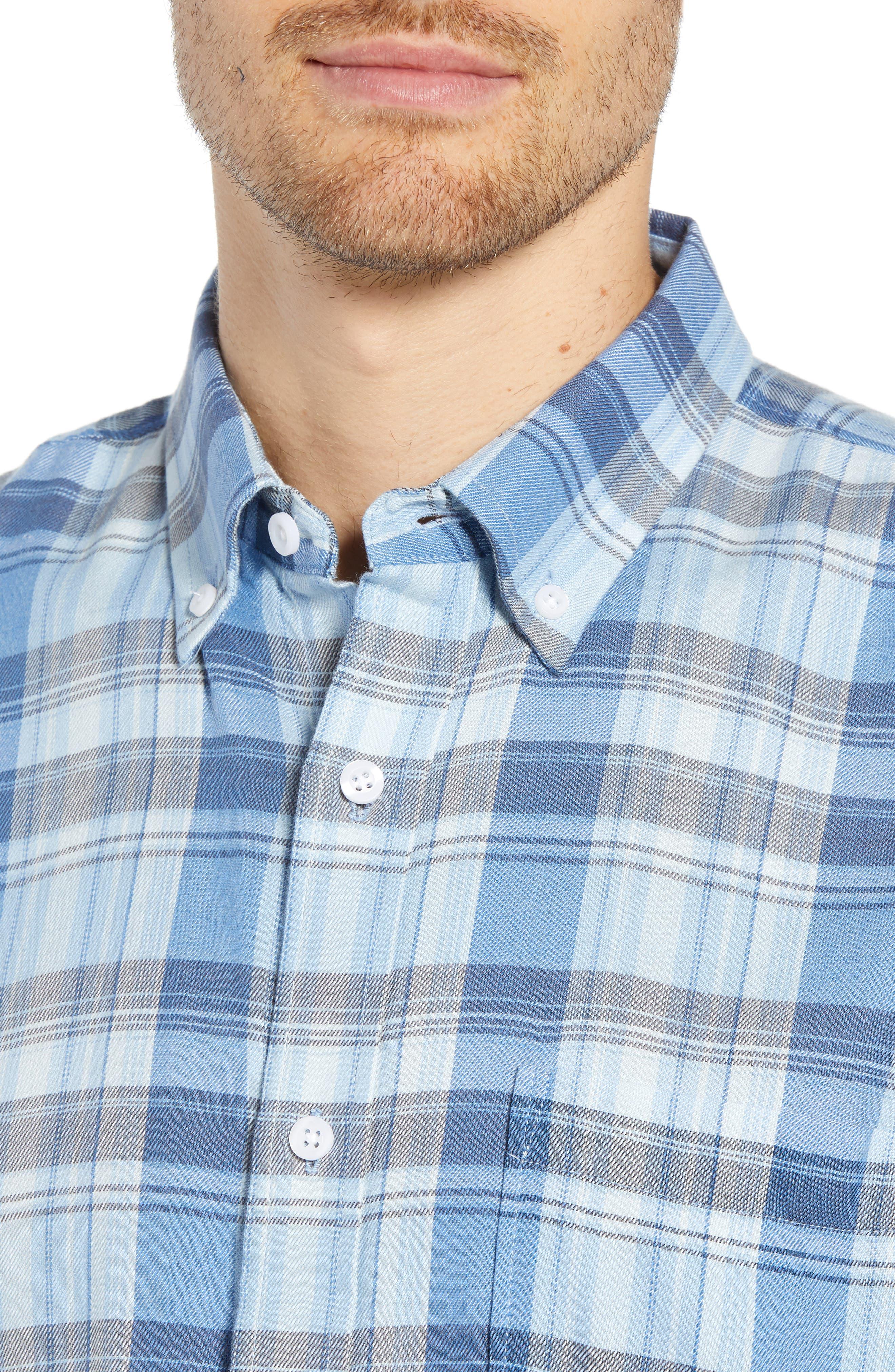 Slim Fit Plaid Sport Shirt,                             Alternate thumbnail 2, color,                             BLUE CHAMBRAY BLUE DARK PLAID