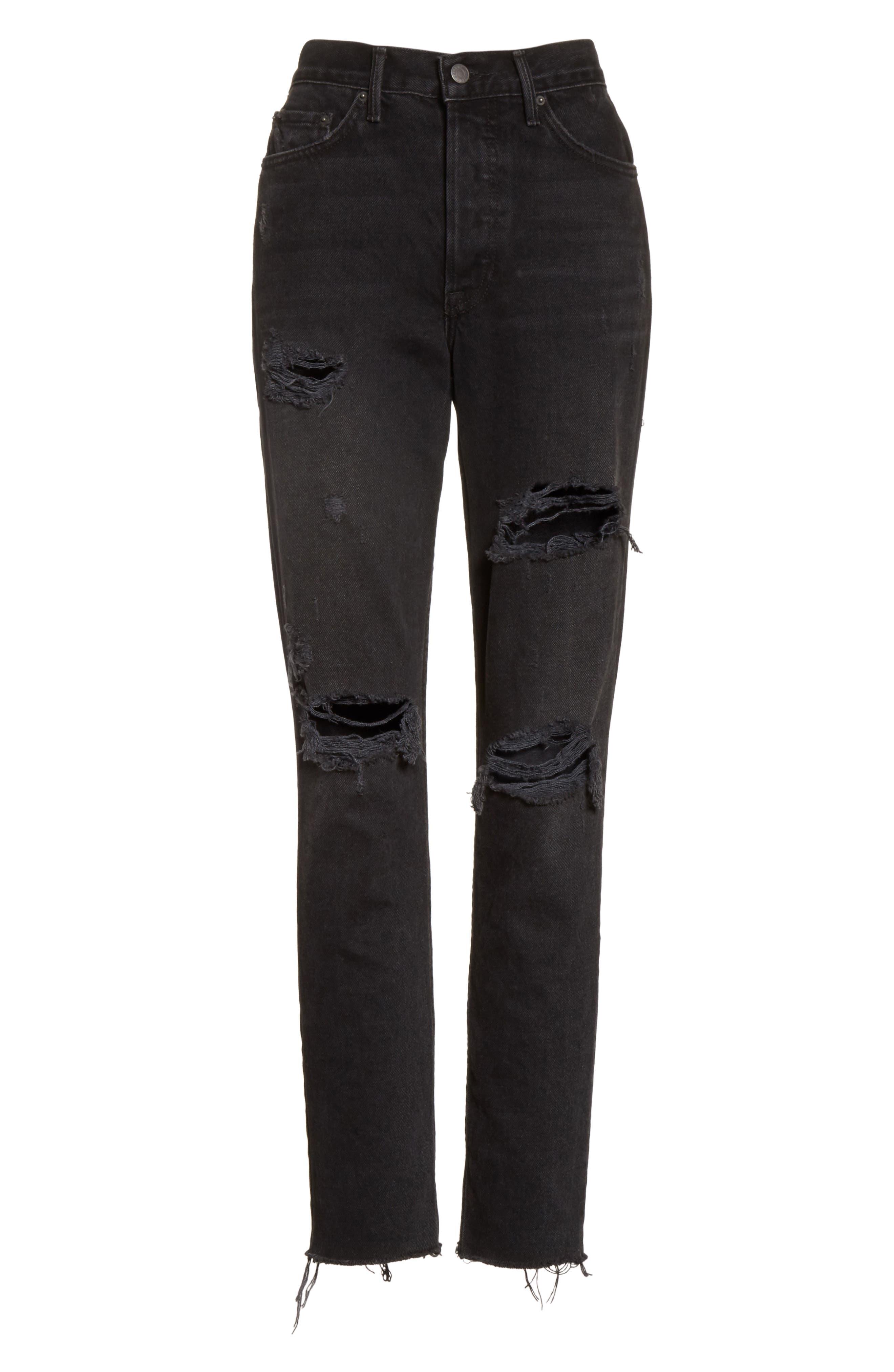 Karolina Ripped Rigid High Waist Skinny Jeans,                             Alternate thumbnail 6, color,                             TRAVELIN BAND
