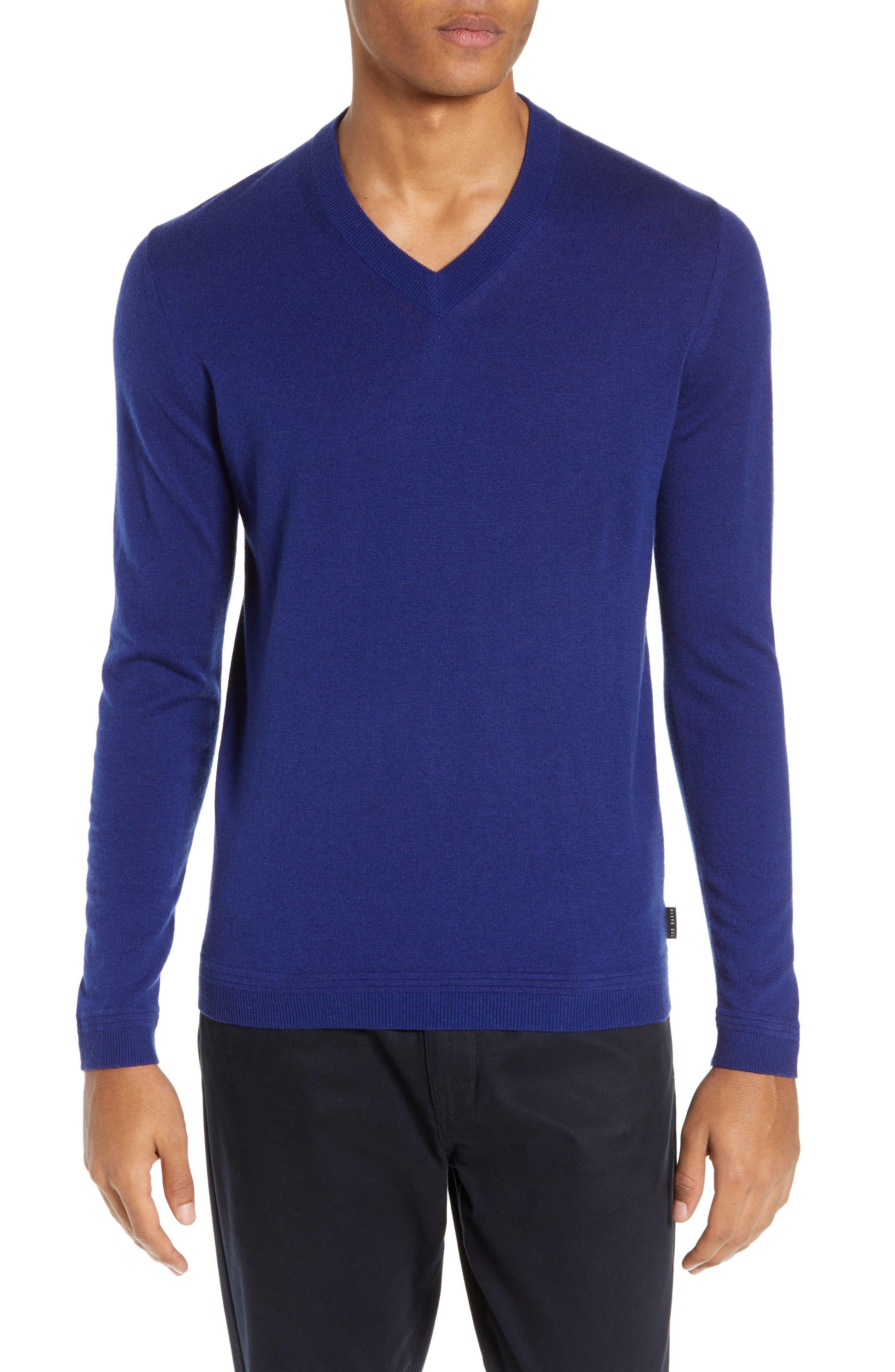 Ted Baker London Noel Slim Fit V-Neck Wool Blend Sweater