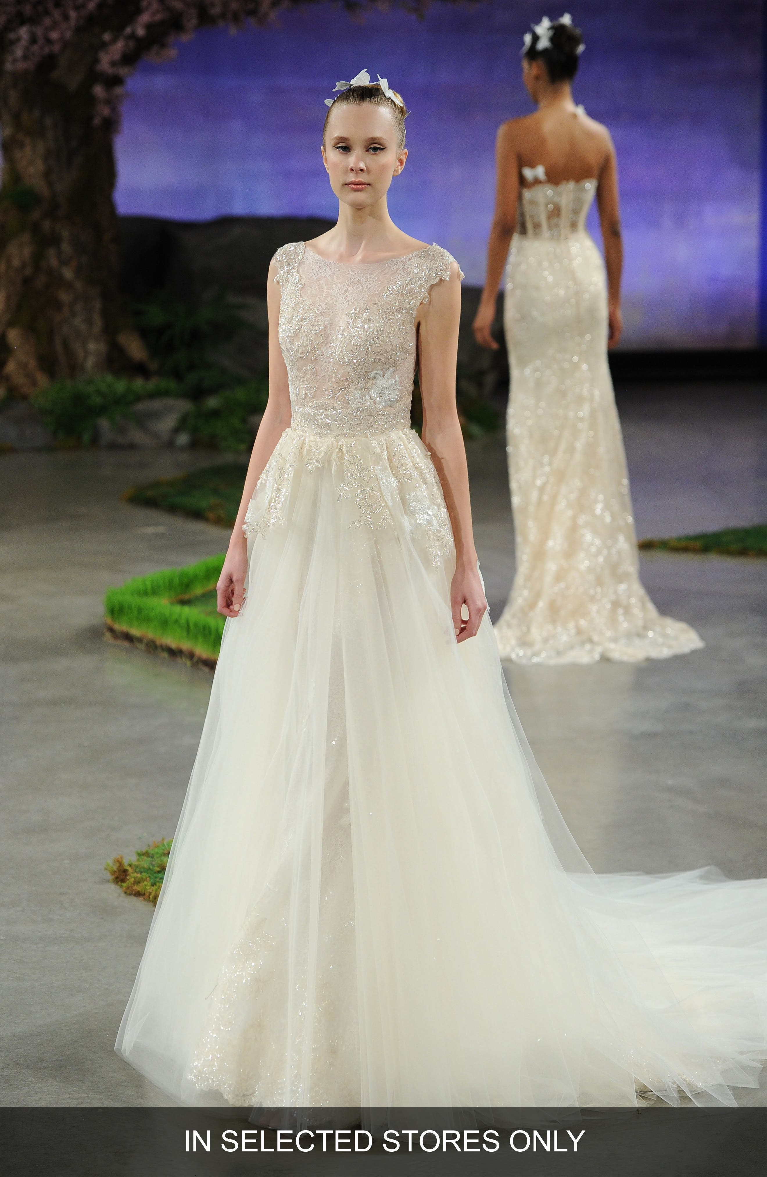 Alonda Embellished Lace Appliqué Trumpet Gown with Detachable Tulle Overskirt,                             Alternate thumbnail 3, color,                             900
