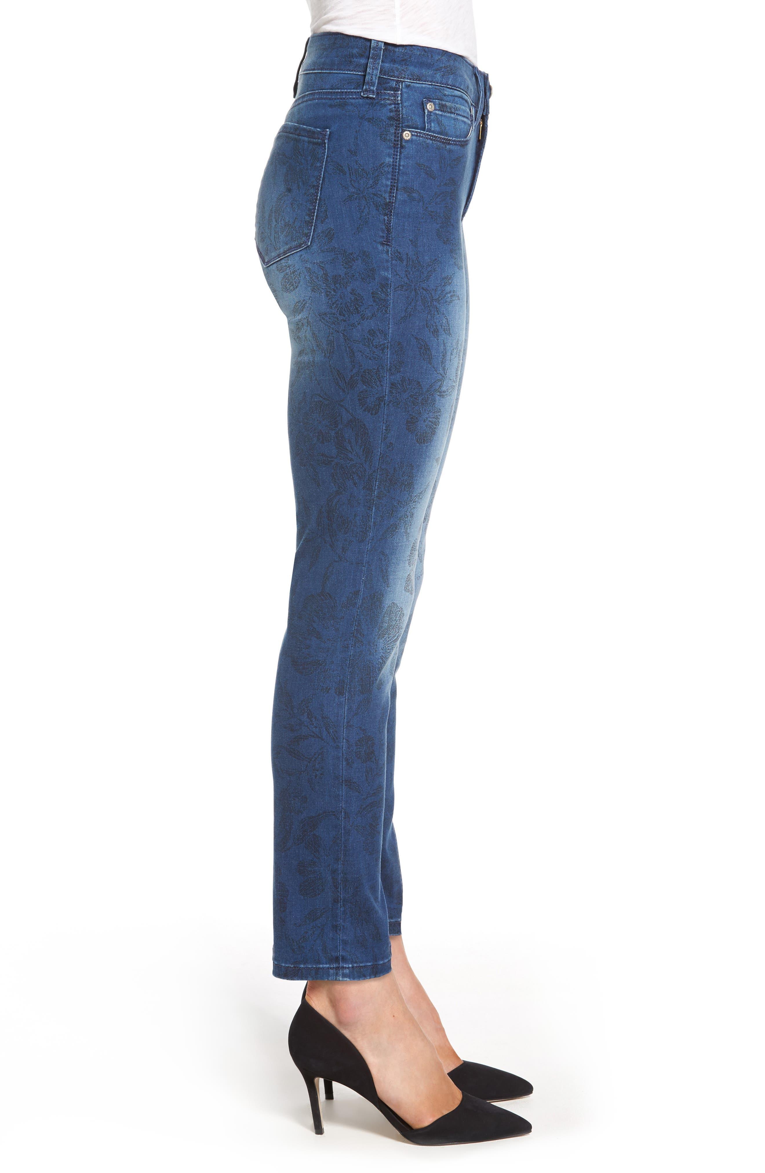 Alina Print Slim Ankle Jeans,                             Alternate thumbnail 3, color,                             490