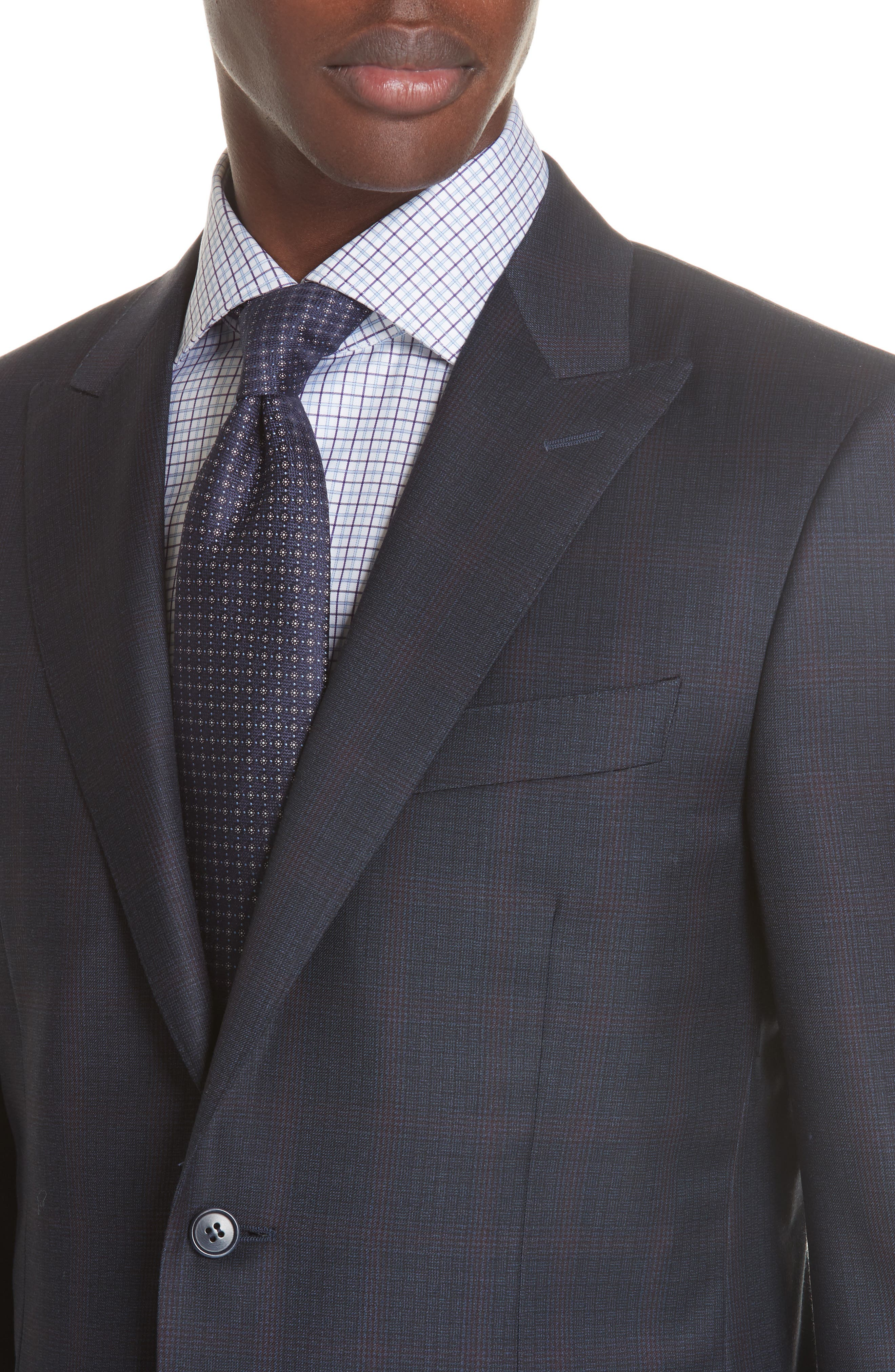 Milano Classic Fit Plaid Wool Suit,                             Alternate thumbnail 4, color,                             NAVY