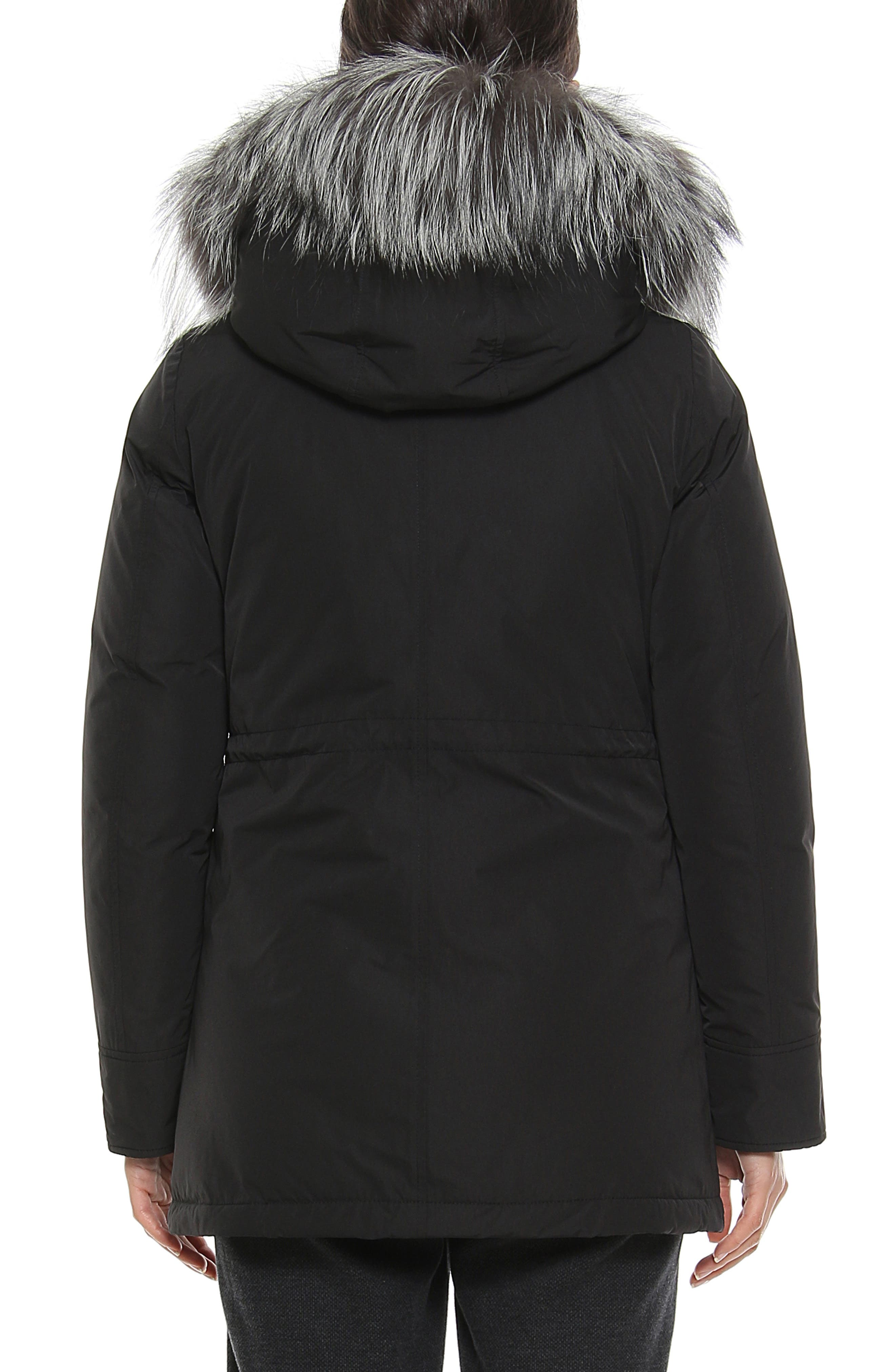 City Arctic Down Parka with Genuine Fox Fur Trim,                             Alternate thumbnail 2, color,                             BLACK