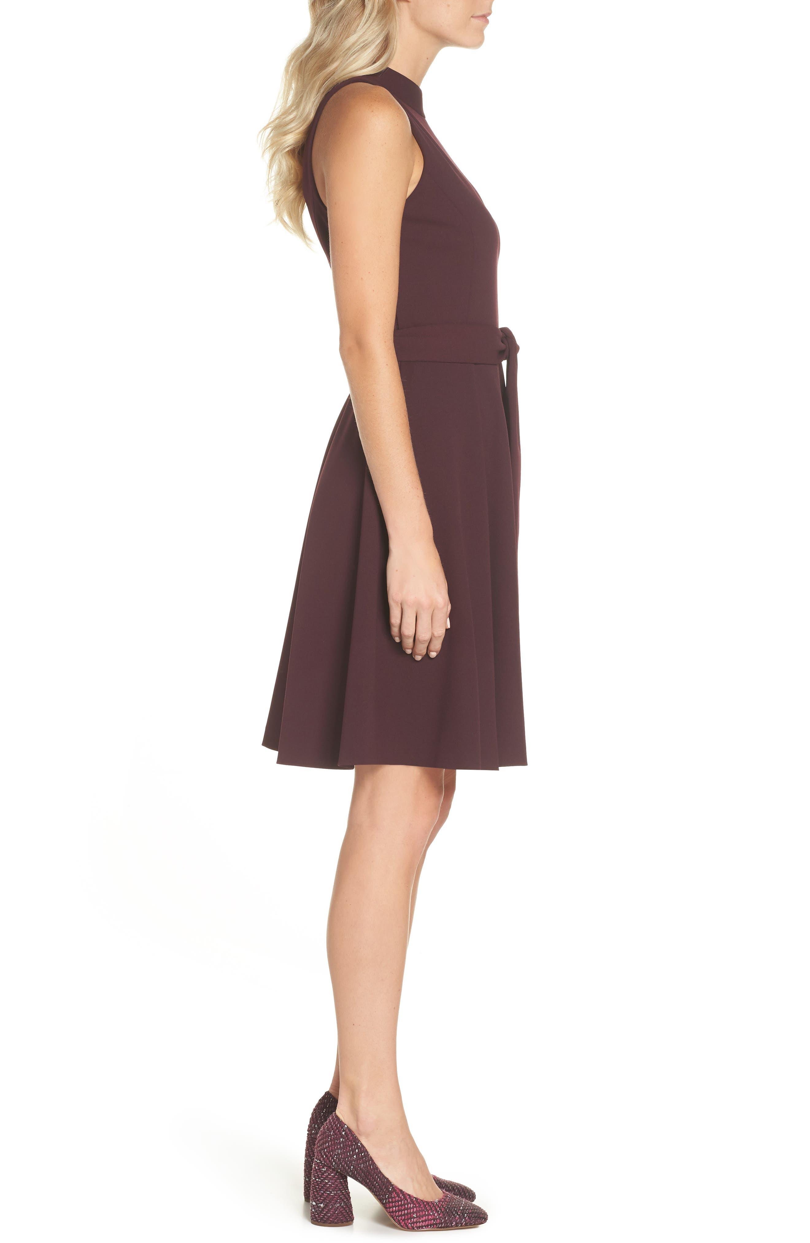 High Neck Scuba Crepe A-Line Dress,                             Alternate thumbnail 3, color,                             FIG
