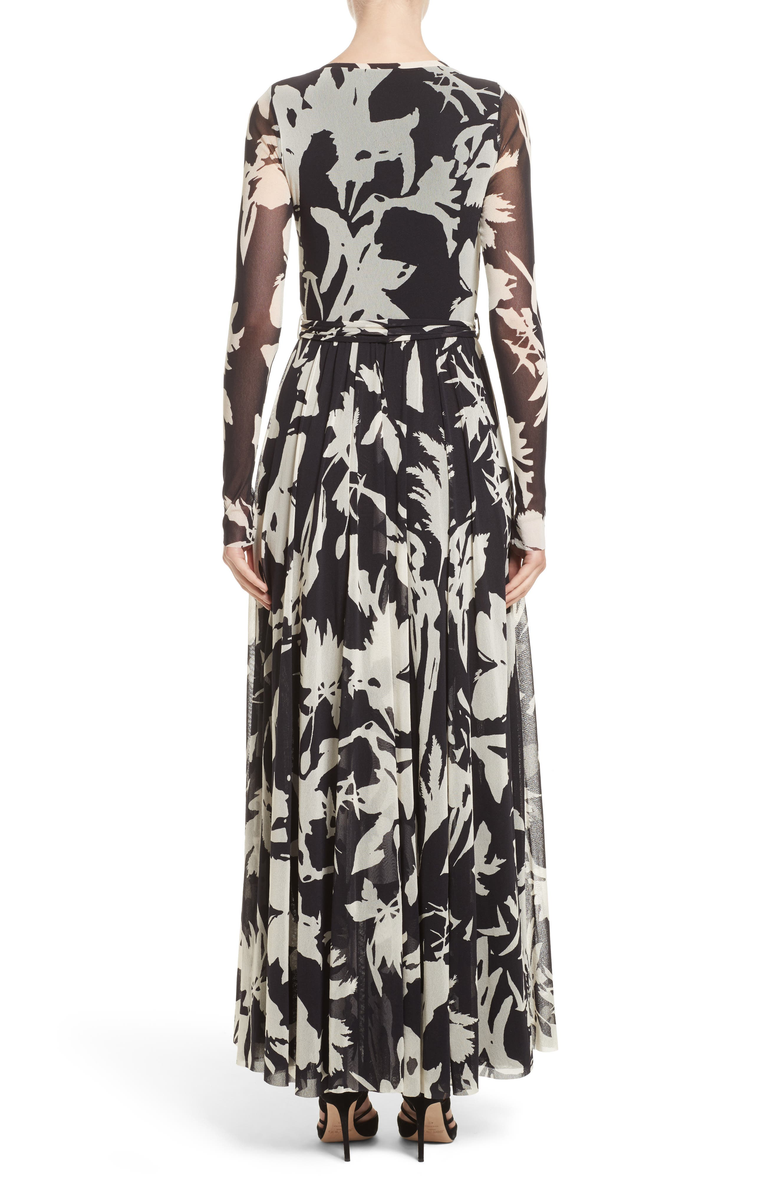 Bicolor Floral Print Tulle Maxi Dress,                             Alternate thumbnail 2, color,                             001
