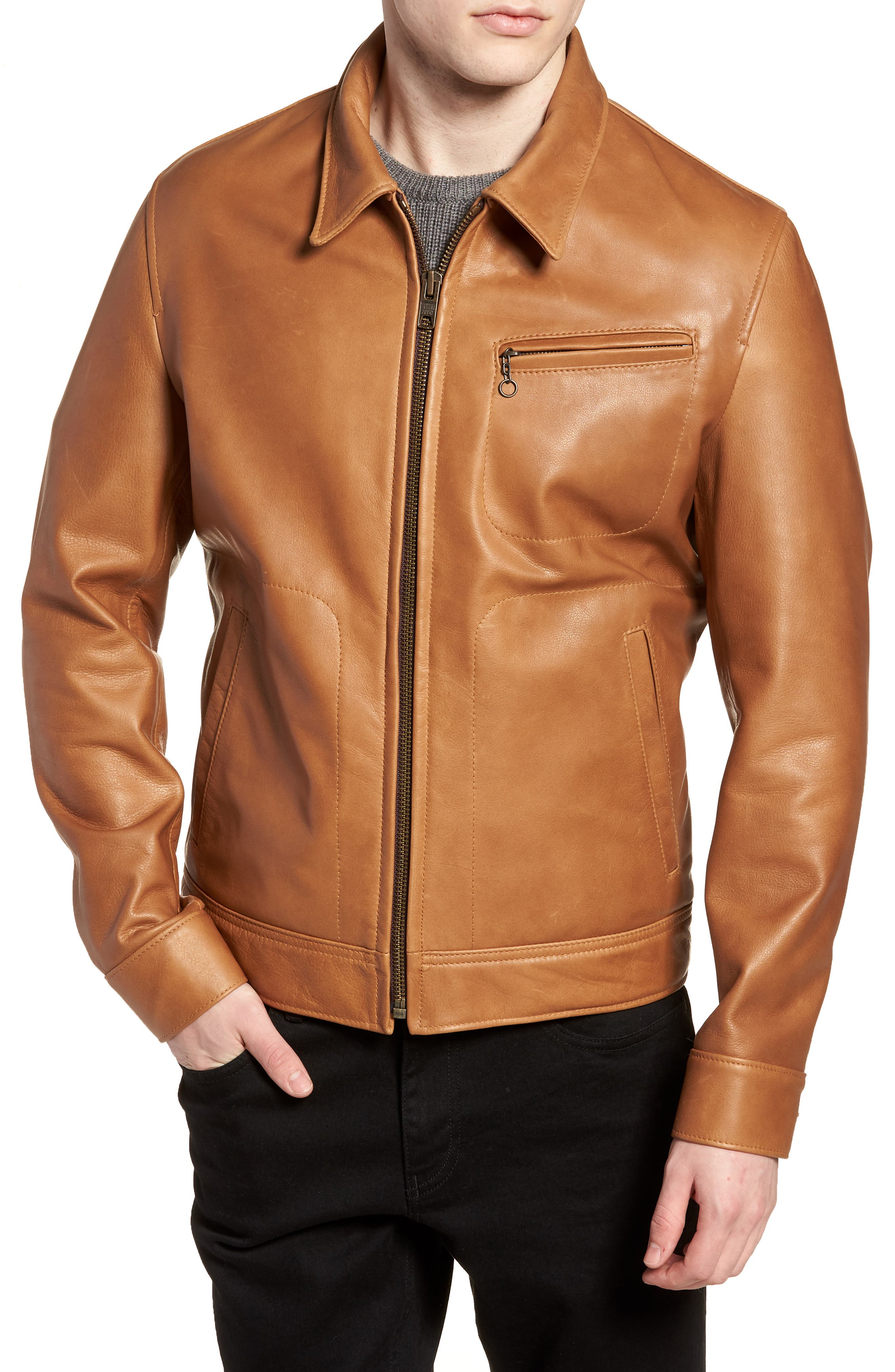 Waxy Leather Jacket,                             Alternate thumbnail 4, color,                             RUST