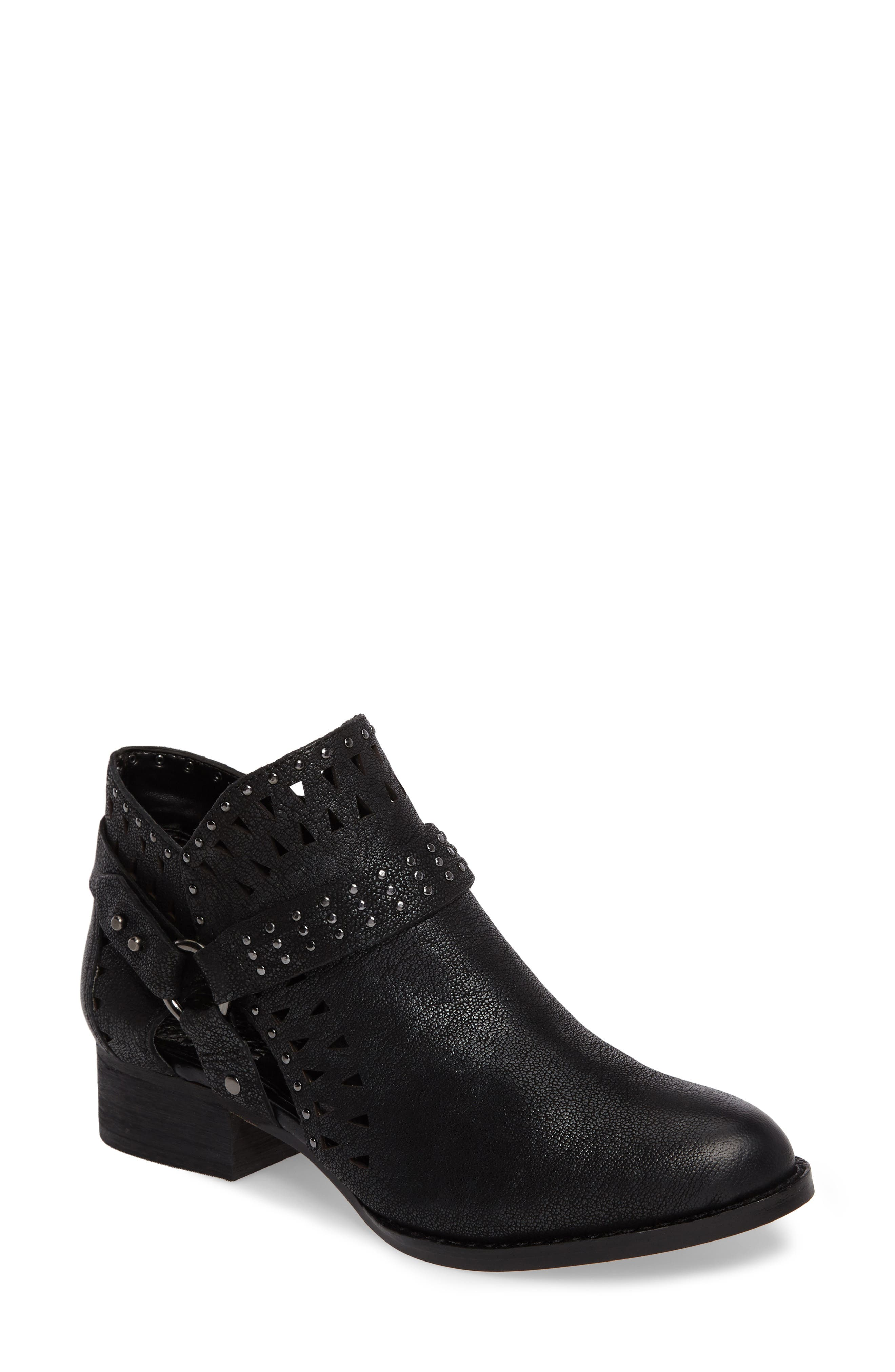Calley Strappy Studded Bootie,                             Main thumbnail 1, color,                             001