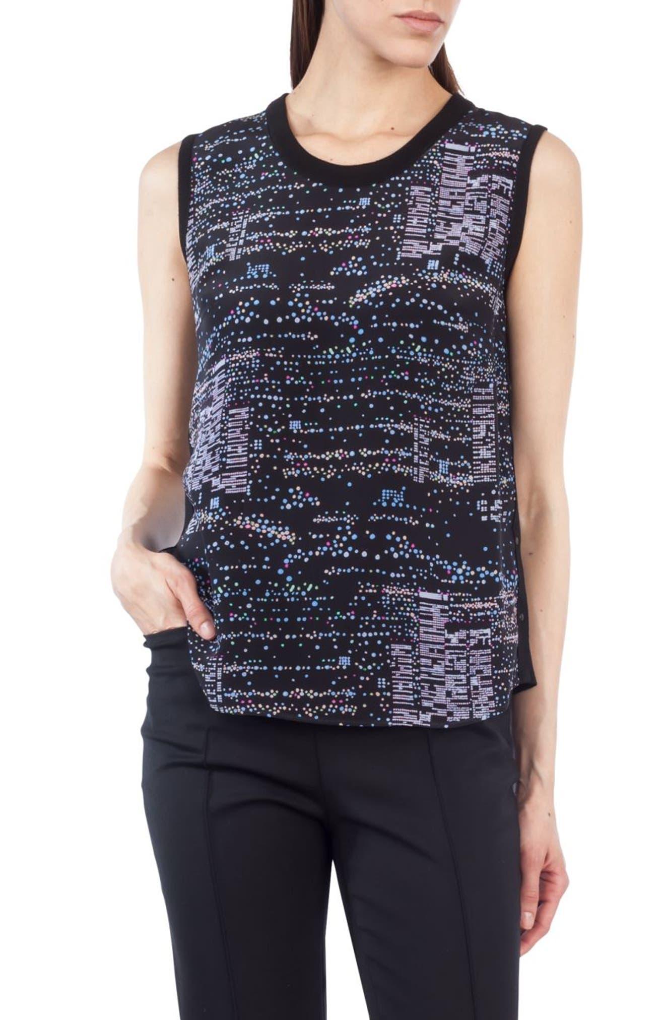 Twilight Print Silk & Wool Top,                         Main,                         color, 009