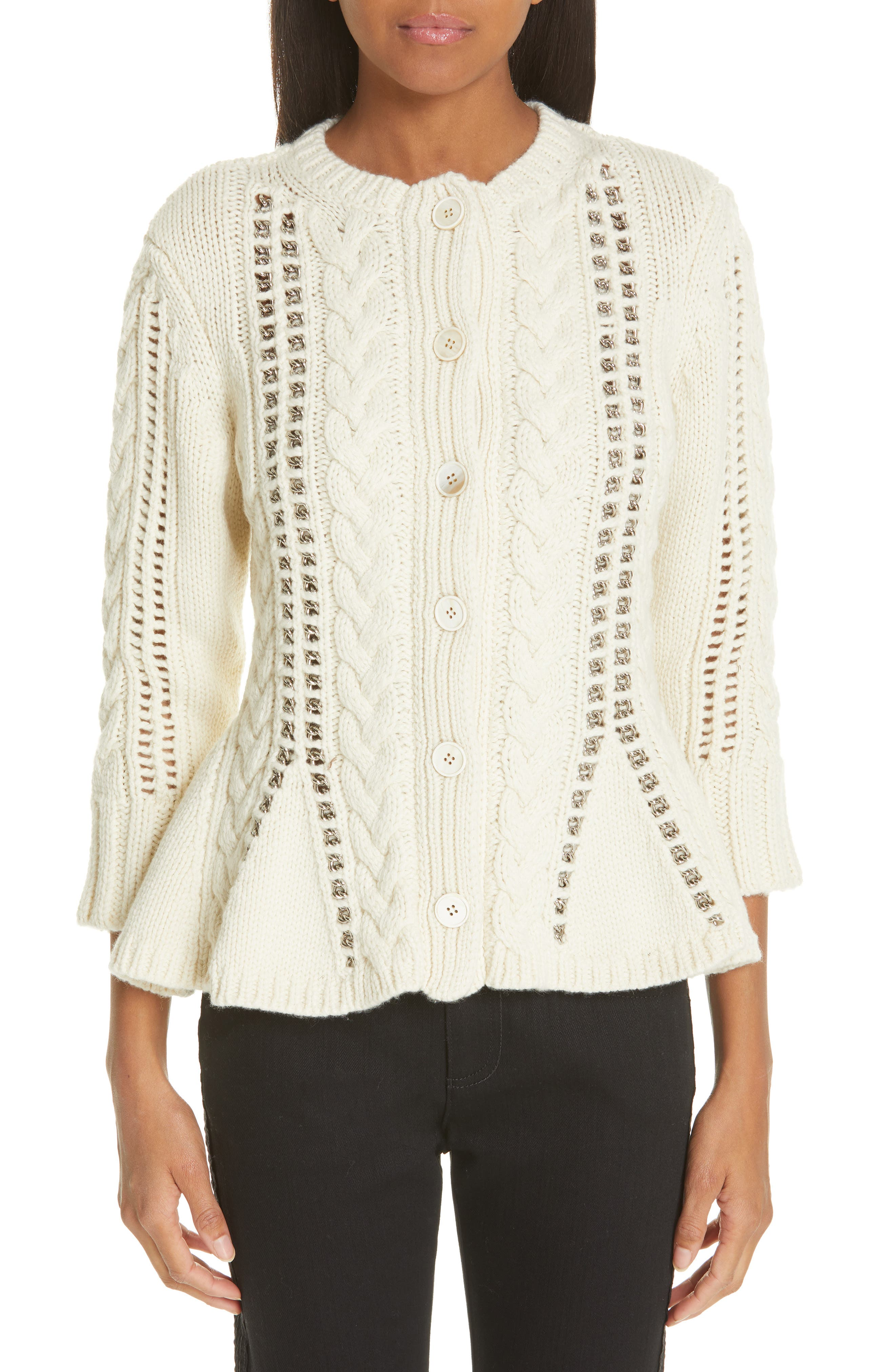 Chain Detail Cashmere Peplum Cardigan, Main, color, IVORY