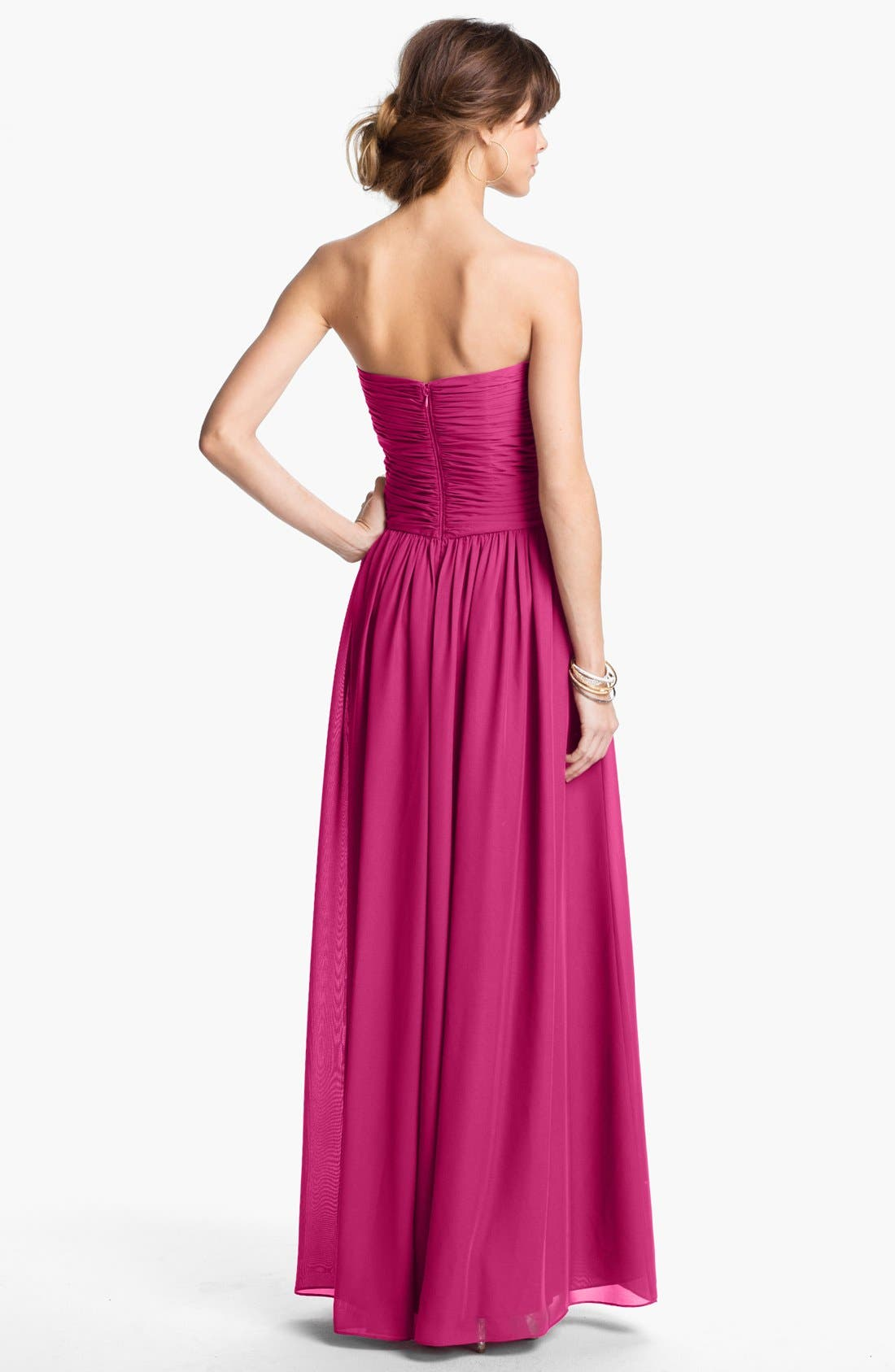 Strapless Ruched Chiffon Gown,                             Alternate thumbnail 33, color,