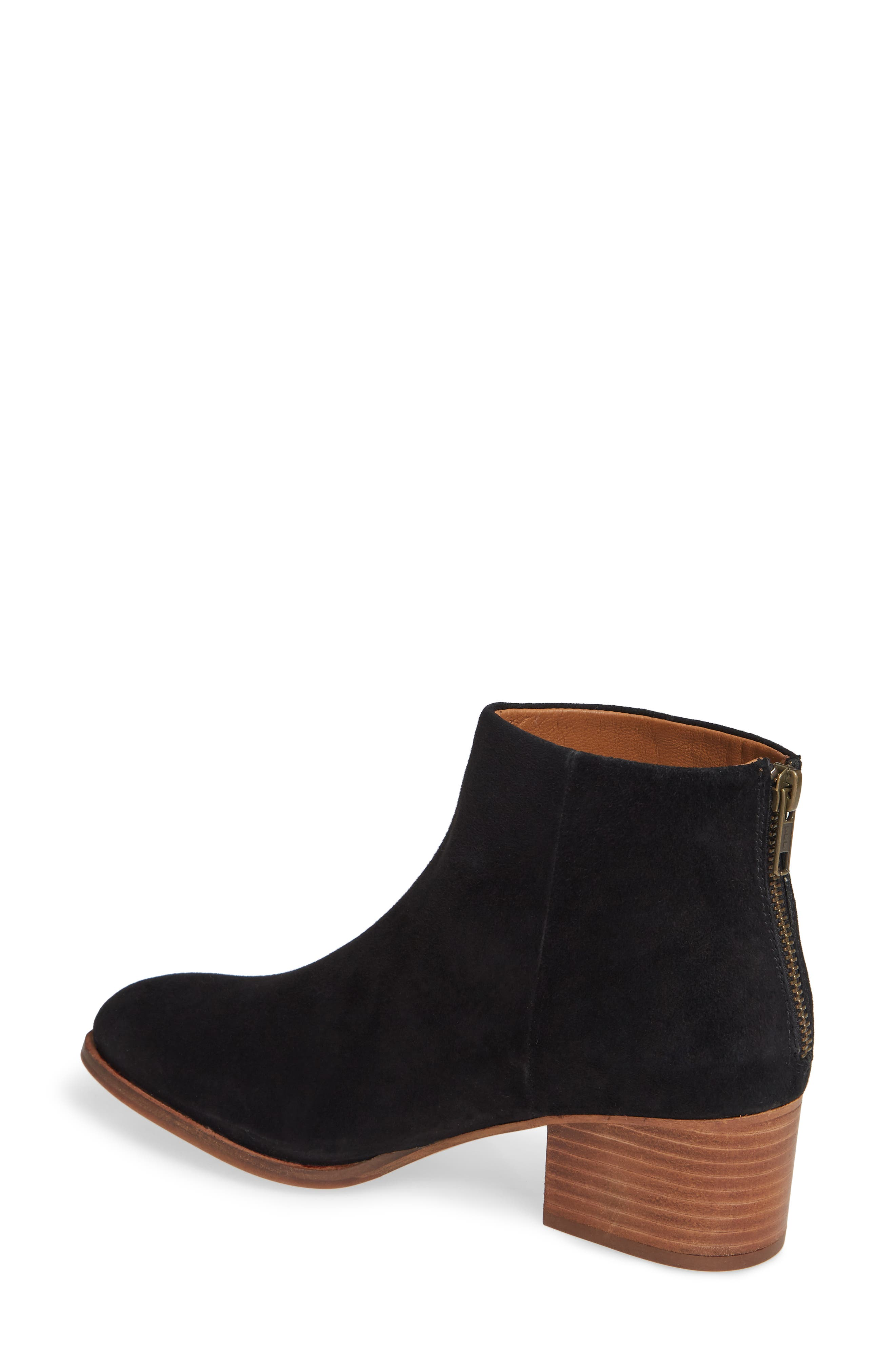 Floodplain Block Heel Bootie,                             Alternate thumbnail 2, color,                             BLACK SUEDE