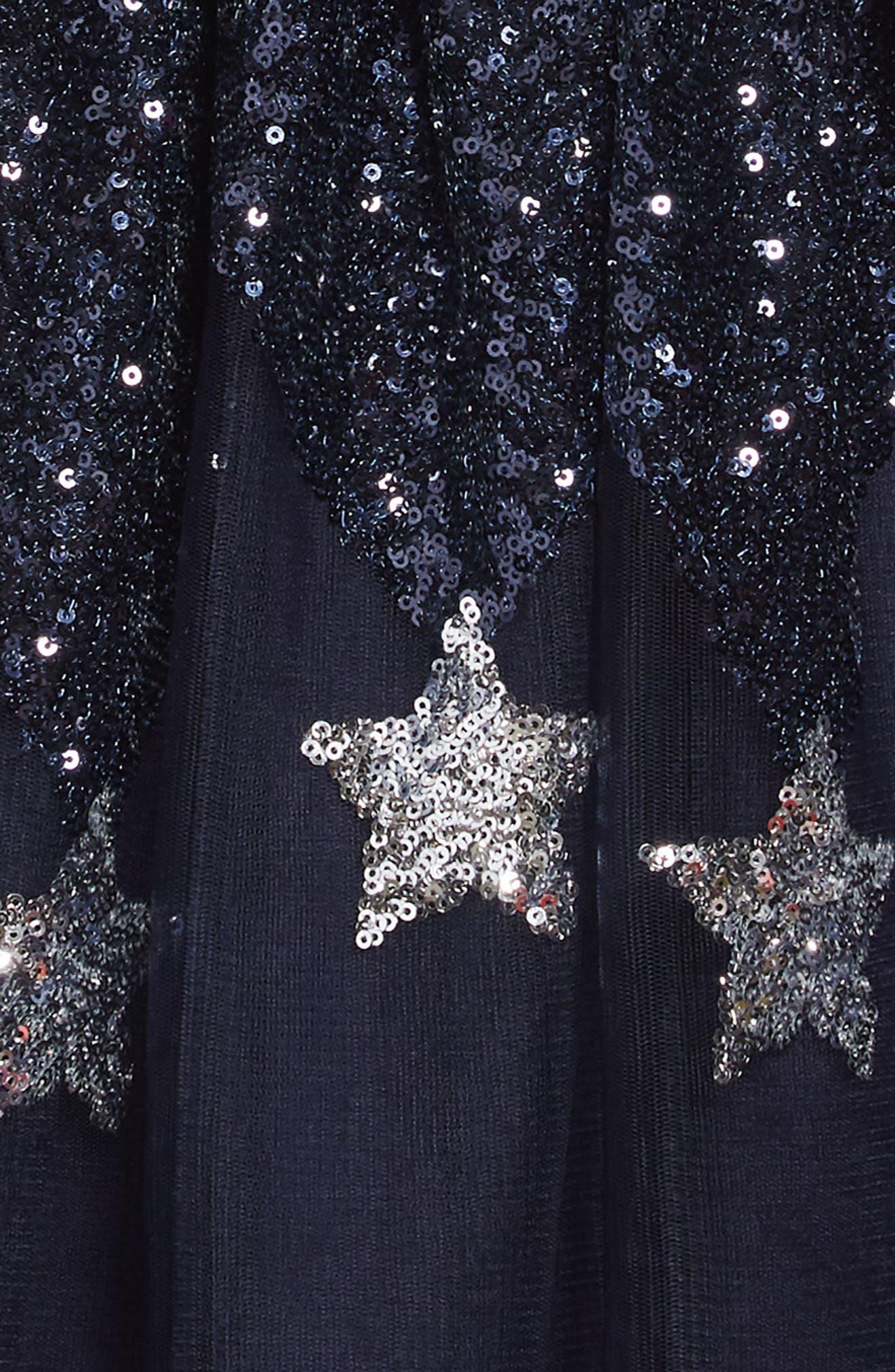 Star Sequin Tulle Dress,                             Alternate thumbnail 3, color,                             NAVY
