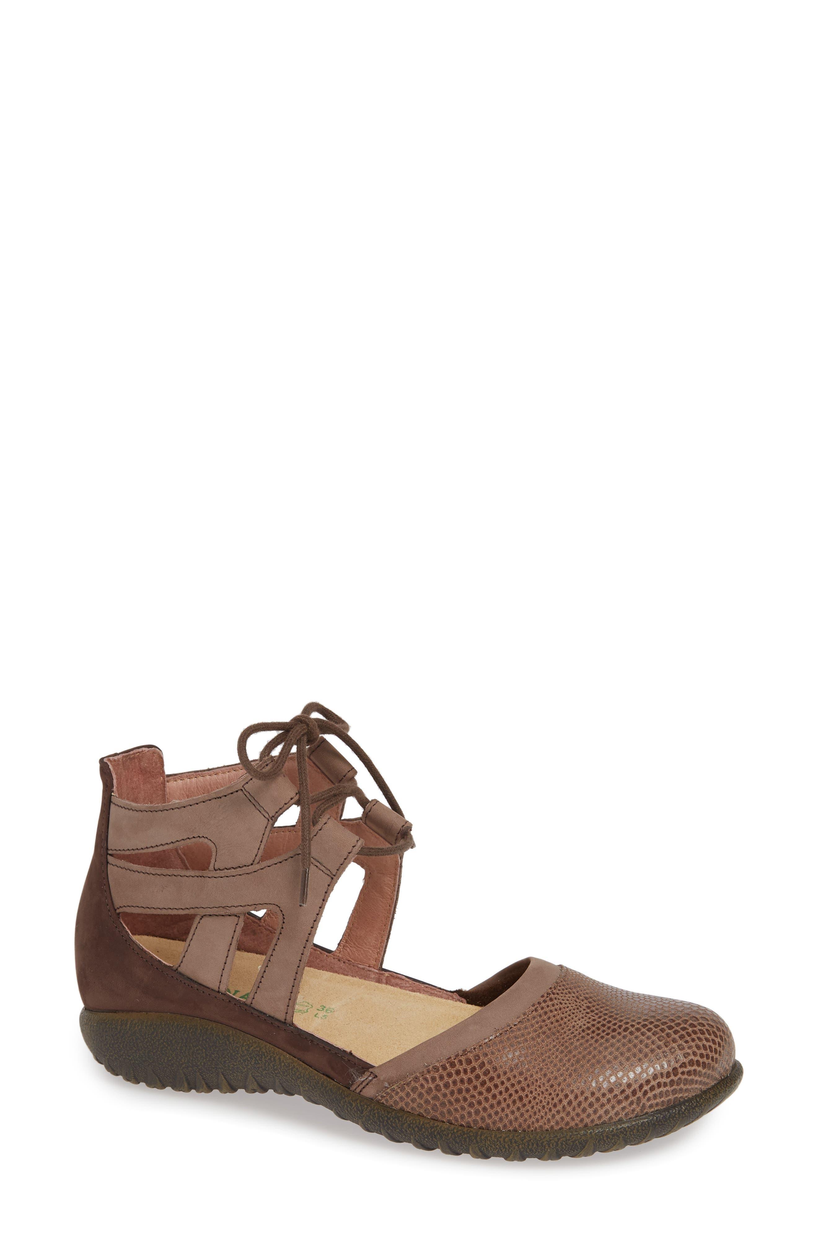 NAOT Kata Lace-Up Sandal, Main, color, BROWN/ SHIITAKE LEATHER