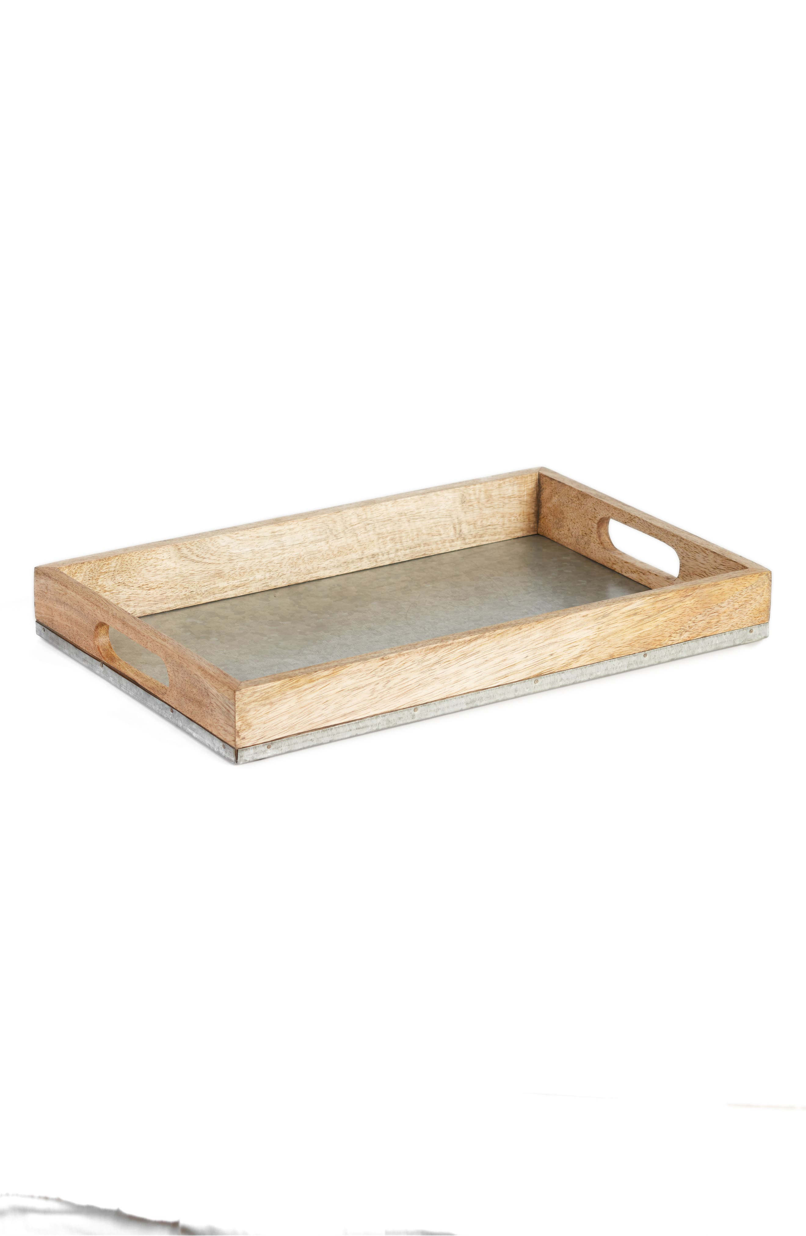 Wood & Galvanized Iron Serving Tray,                         Main,                         color, GREY