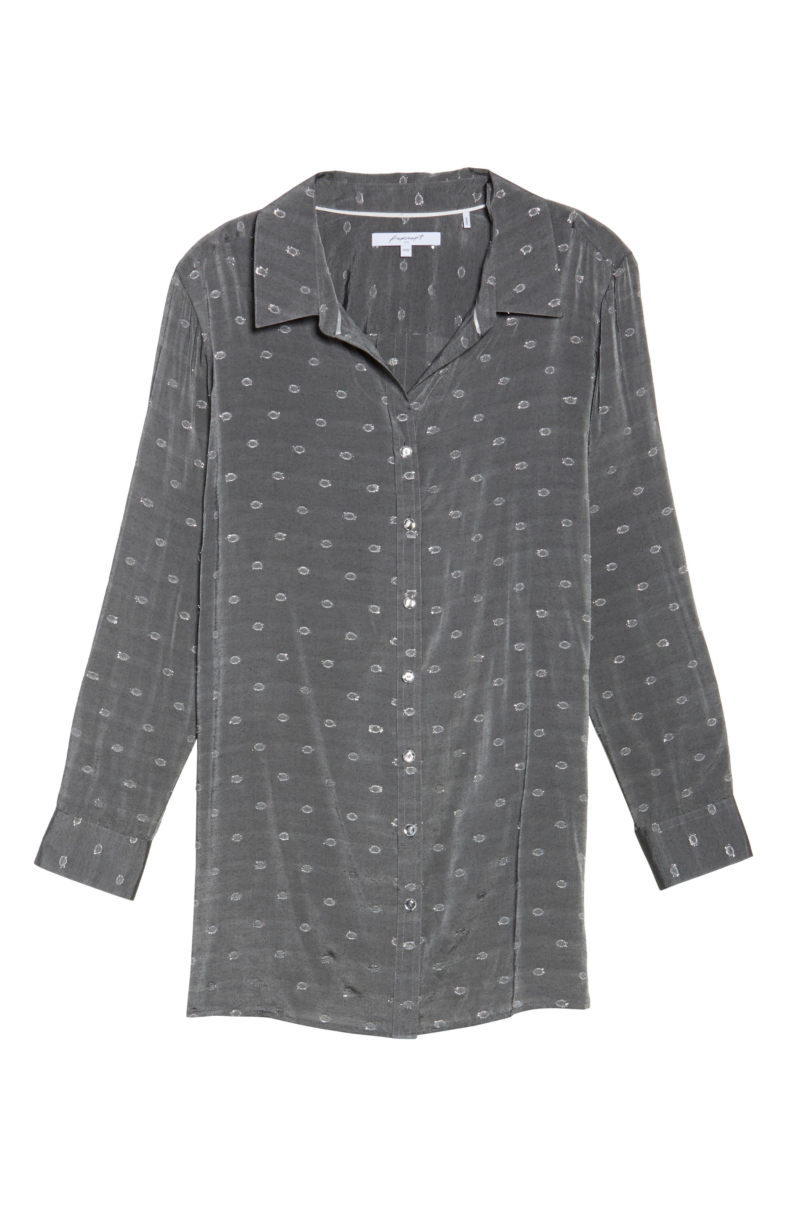 Jade Metallic Clip Dot Shirt,                             Alternate thumbnail 6, color,                             037