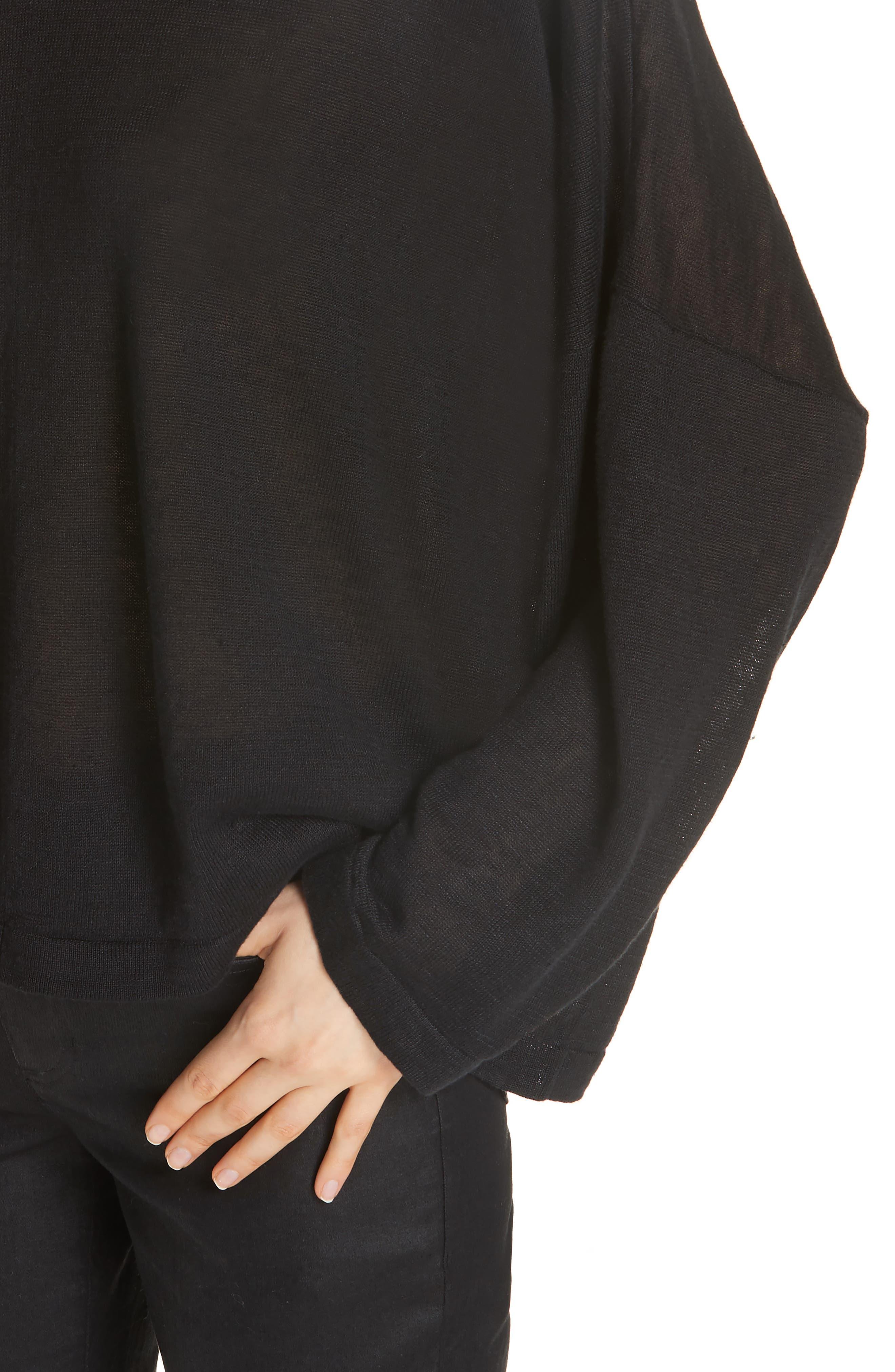 Boxy Organic Linen Sweater,                             Alternate thumbnail 4, color,                             BLACK