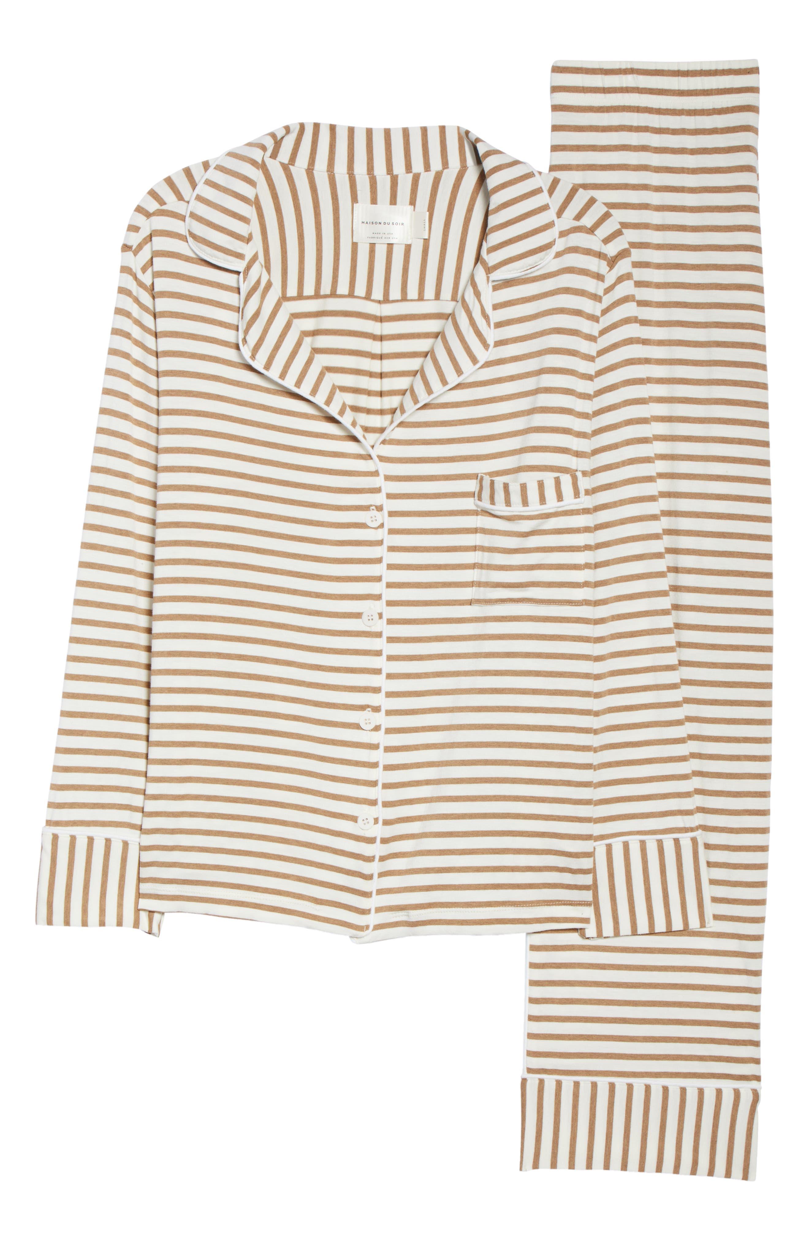 Monaco Pajamas,                             Alternate thumbnail 6, color,                             CAMEL STRIPE
