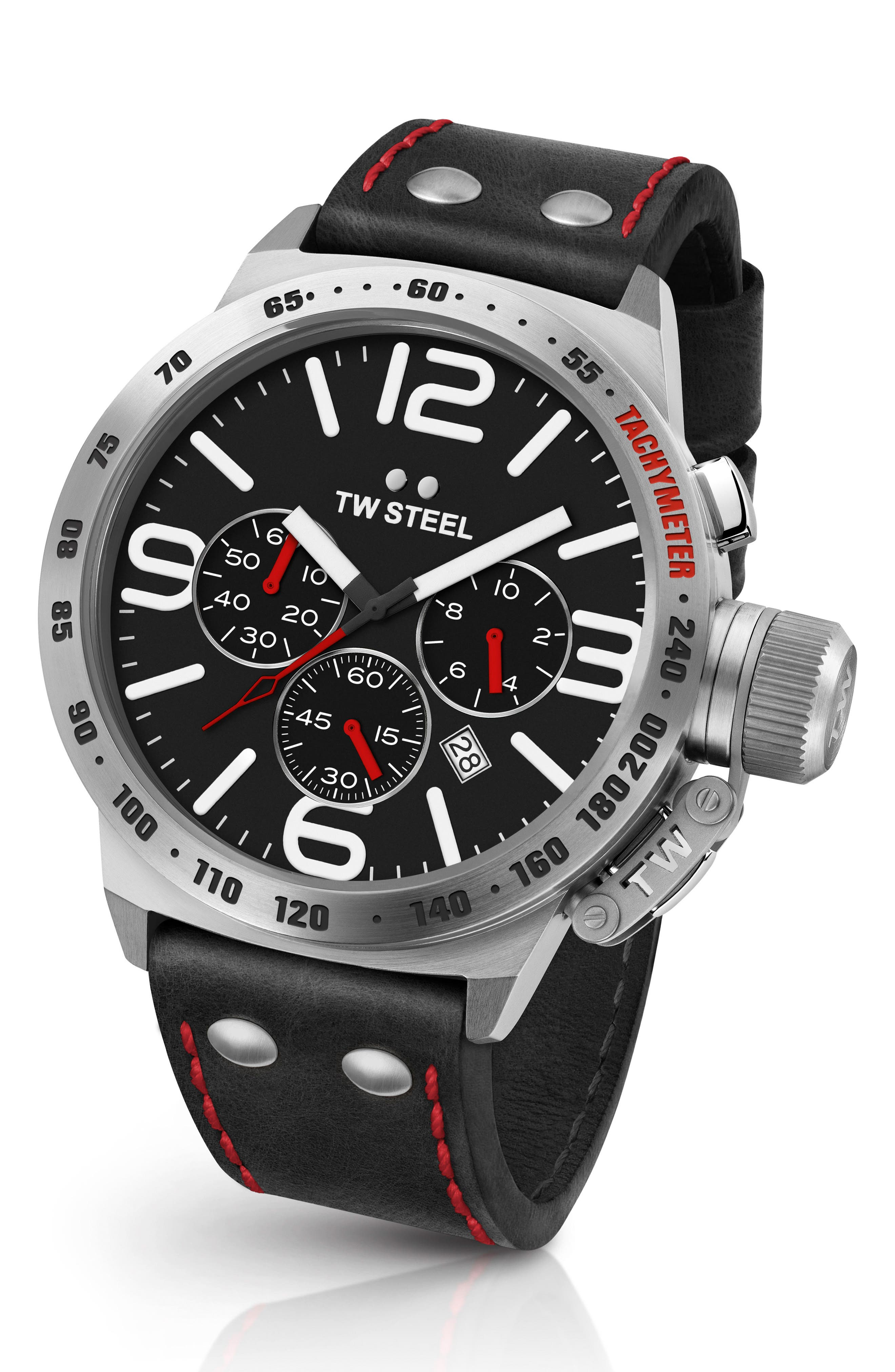 Canteen Chronograph Leather Strap Watch, 50mm,                         Main,                         color, BLACK/ SILVER