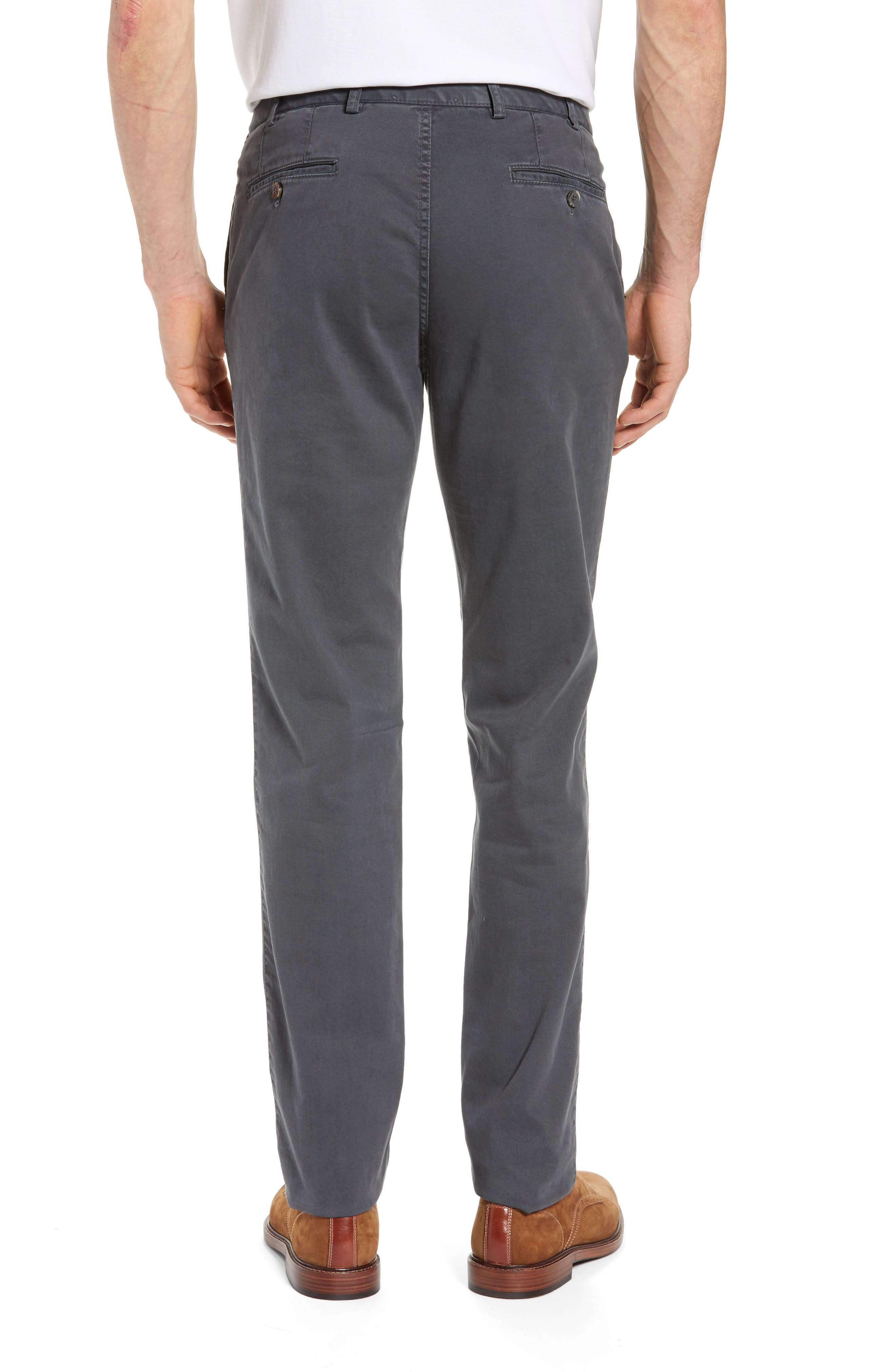 Pero Trim Fit Flat Front Chino Trousers,                             Alternate thumbnail 2, color,                             GREY