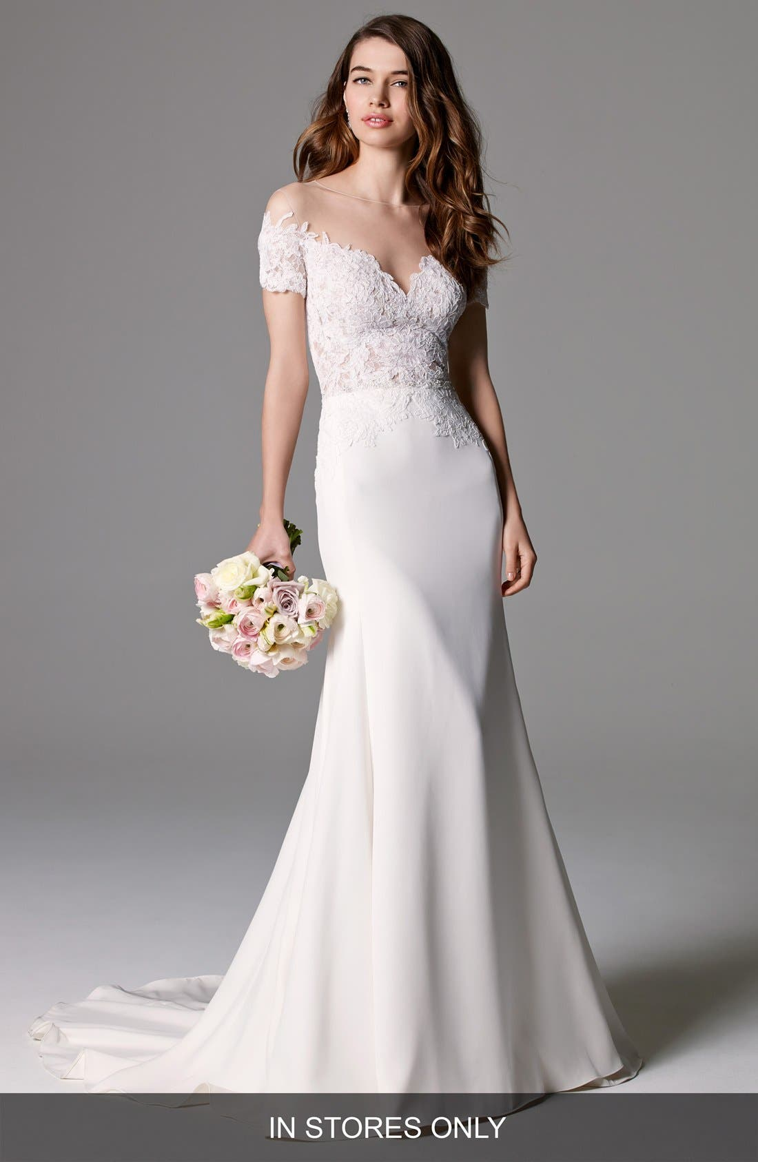 Seaton Illusion Off-the-Shoulder Lace & Georgette Trumpet Gown,                             Main thumbnail 1, color,                             IVORY/IVORY