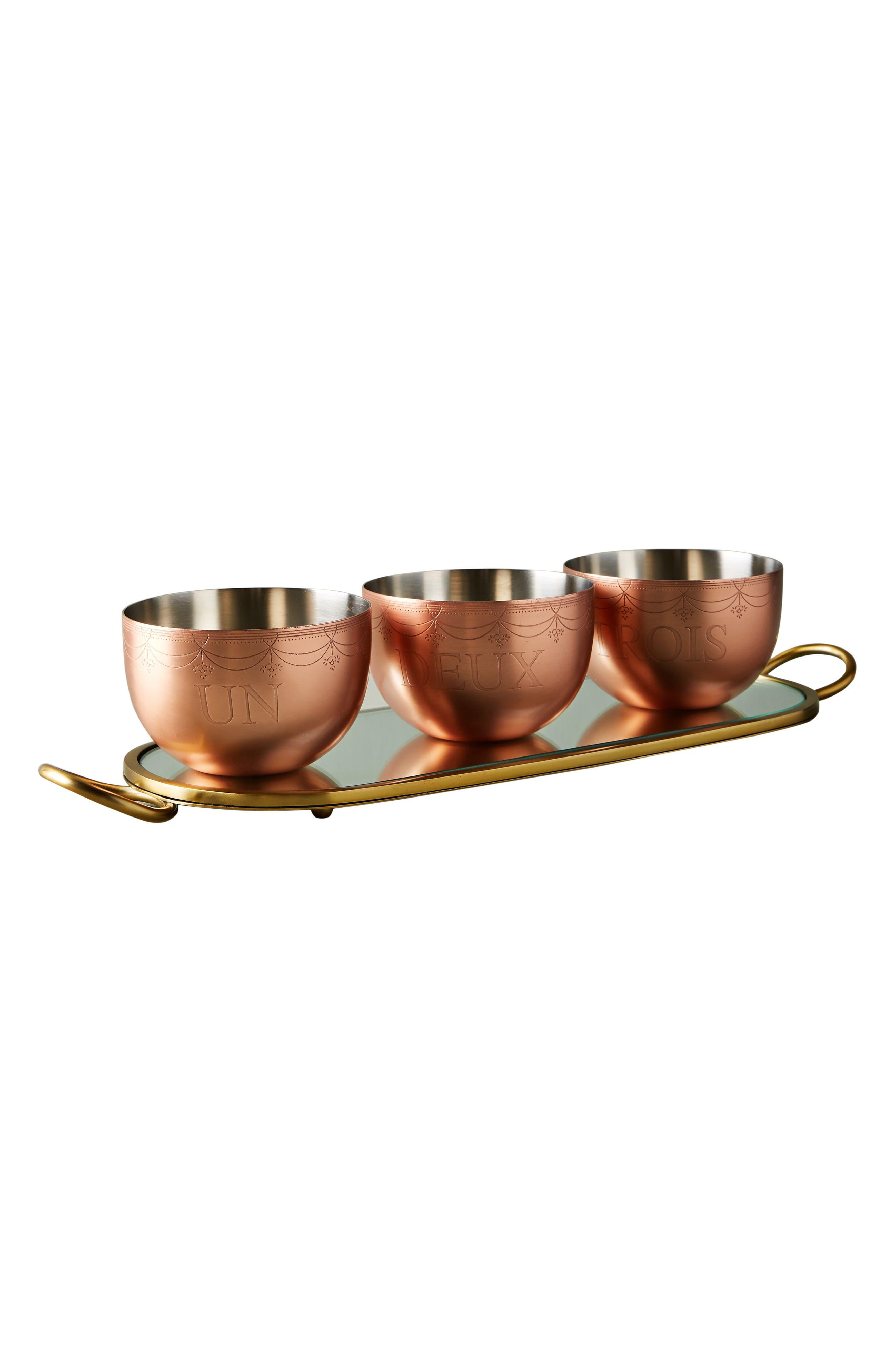 Lanna Tray & Bowl Set,                             Alternate thumbnail 3, color,                             ROSE GOLD