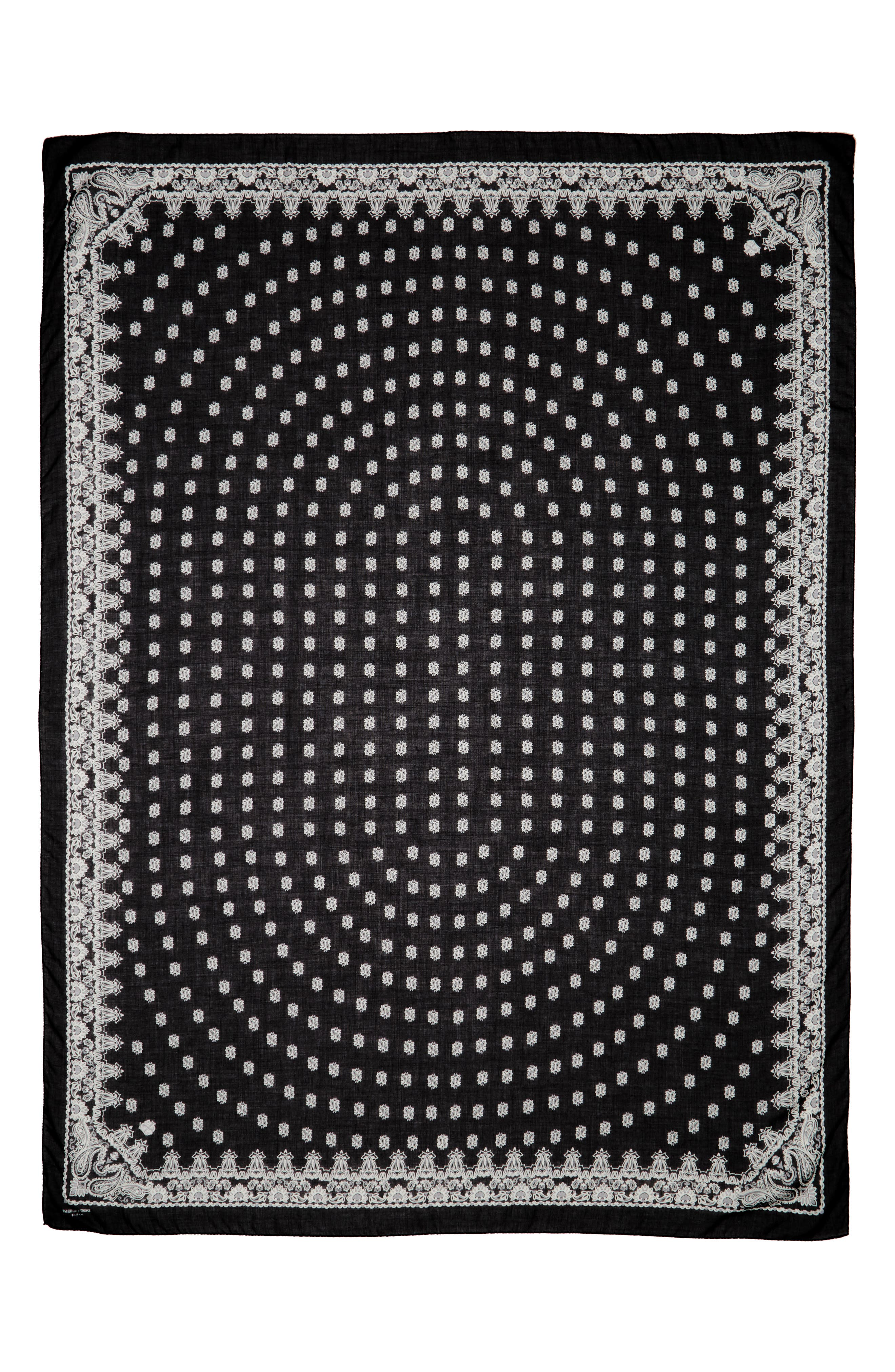 SAINT LAURENT Bandana Print Cashmere & Silk Scarf, Main, color, 001