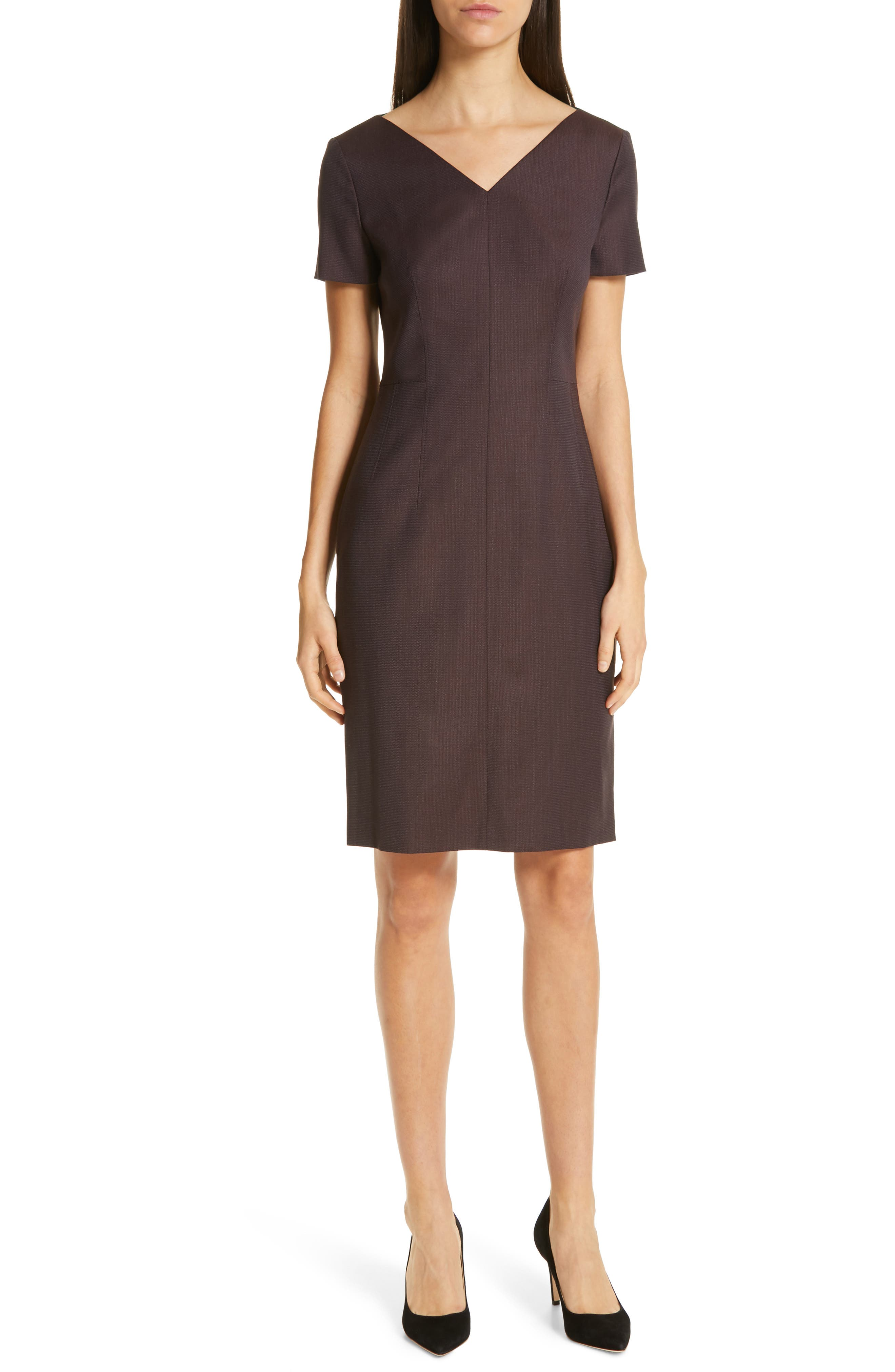 Boss Dabahana Wool Sheath Dress, Purple