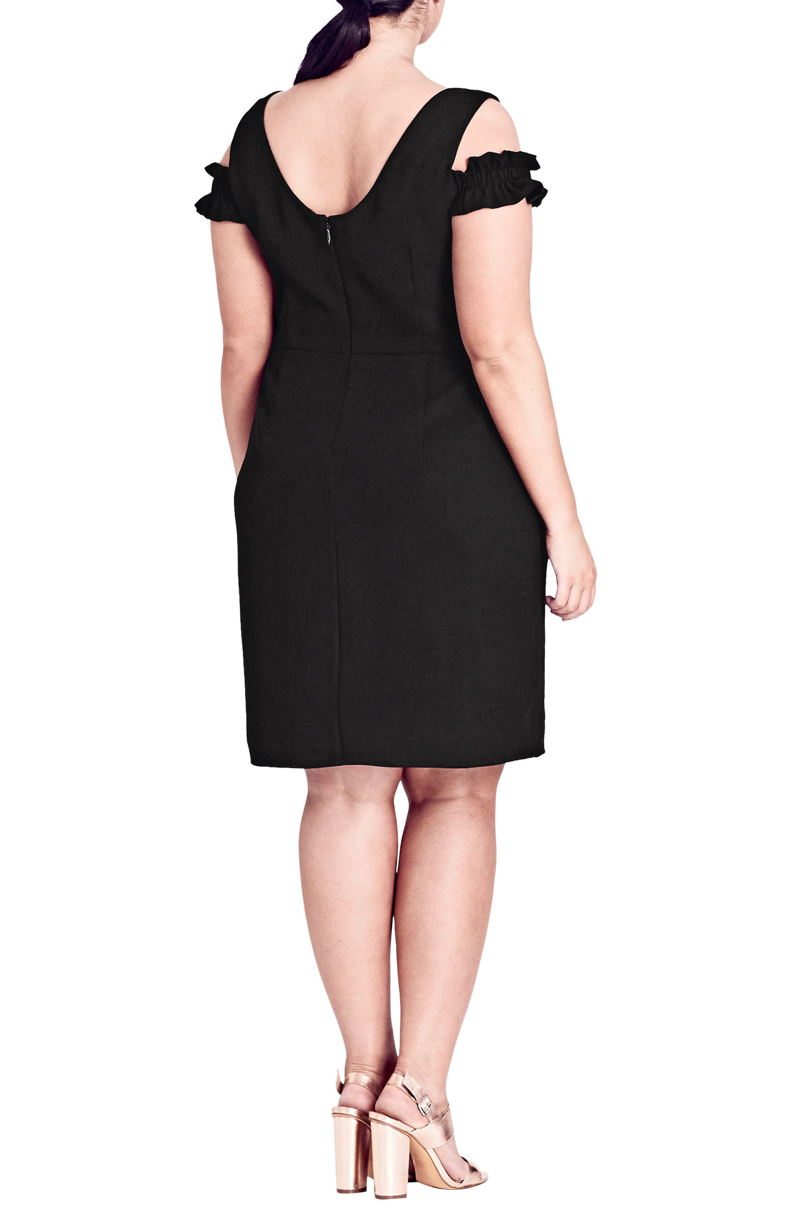 Cute Frill Sheath Dress,                             Alternate thumbnail 2, color,                             BLACK