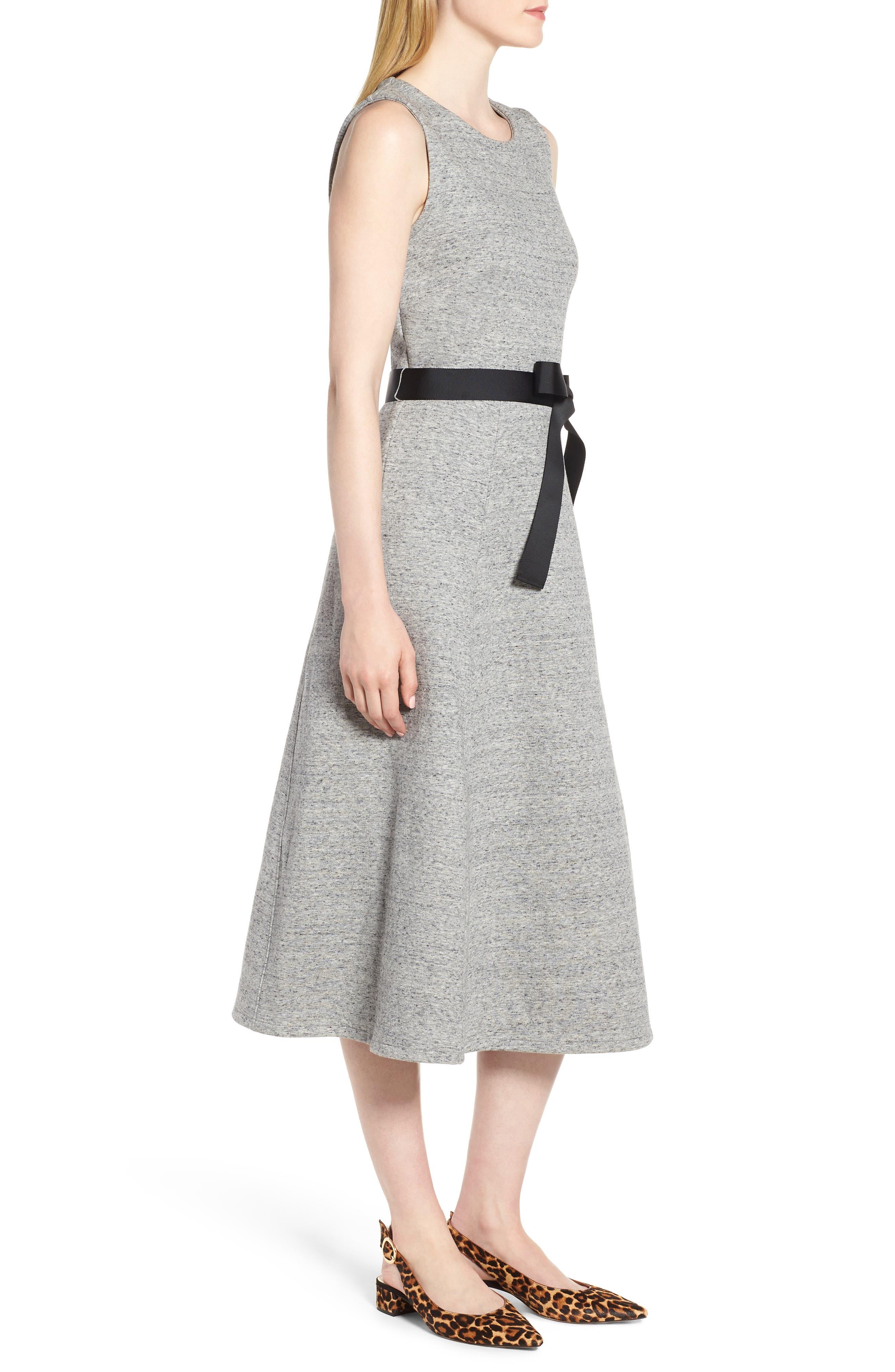 Velvet Tie A-Line Dress,                             Alternate thumbnail 3, color,                             020