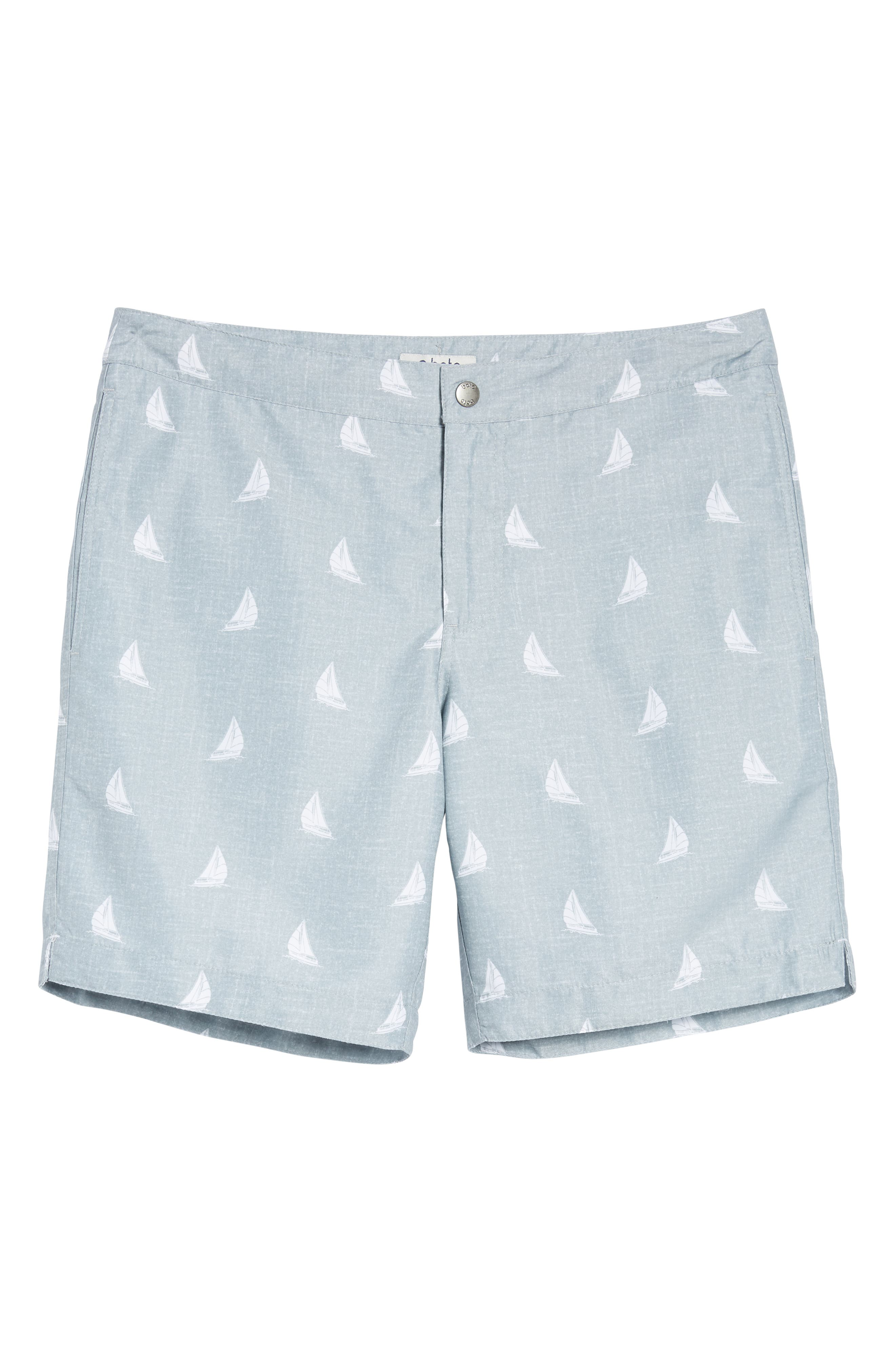 Aruba Slim Fit Swim Trunks,                             Alternate thumbnail 6, color,                             HEATHERED GREY SAILBOATS