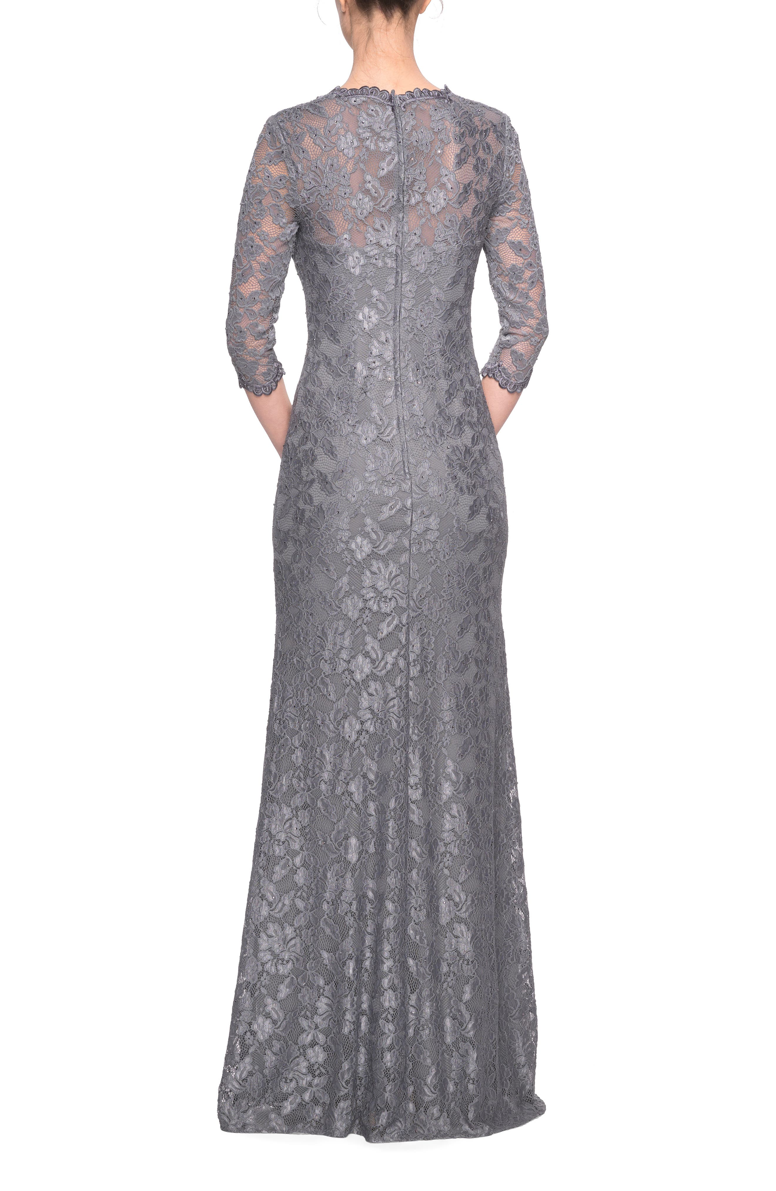 LA FEMME,                             Lace Column Gown,                             Alternate thumbnail 2, color,                             PLATINUM