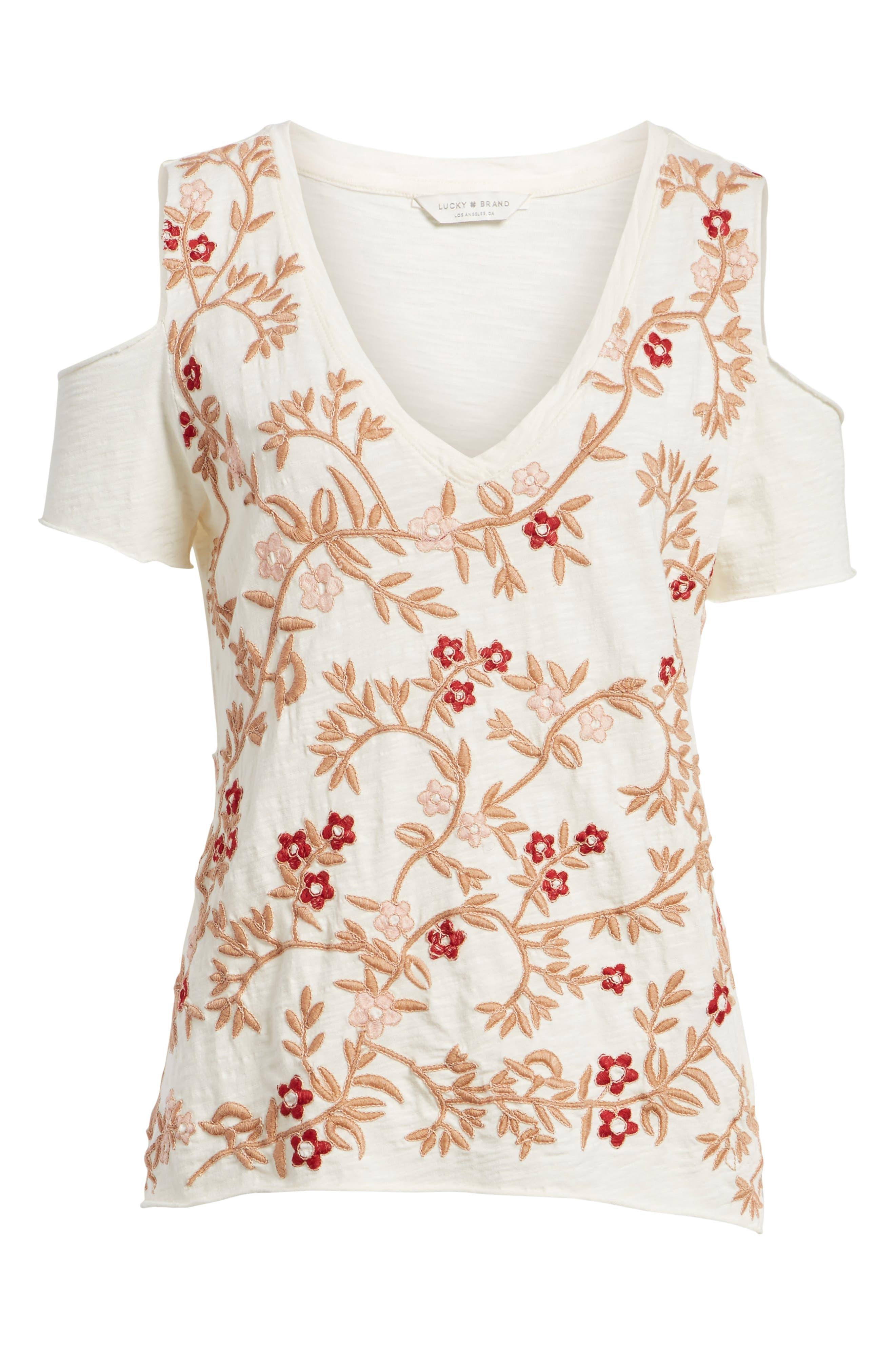 Floral Embroidered Cold Shoulder Top,                             Alternate thumbnail 6, color,                             690