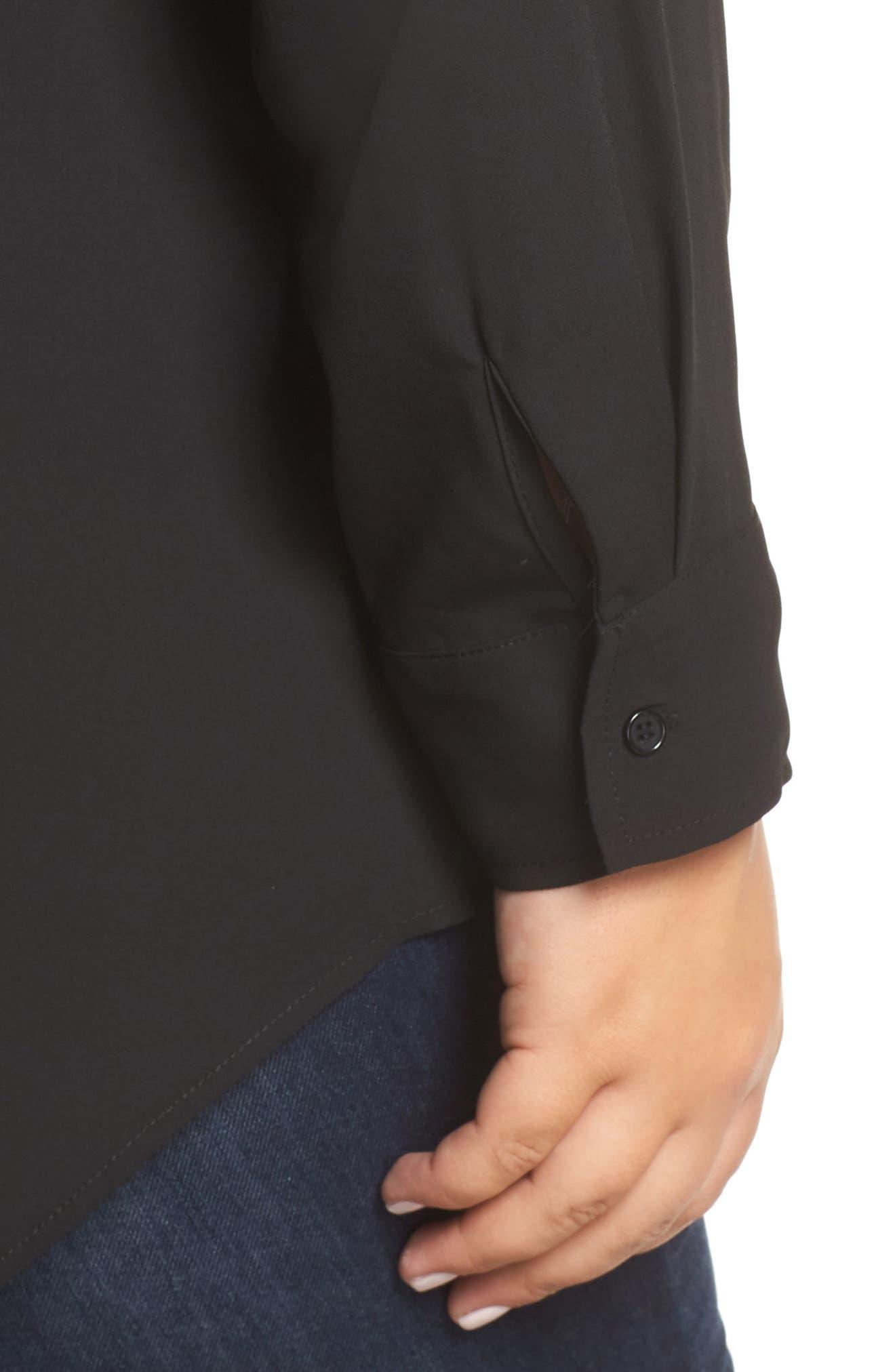 Shirt Collar Blouse,                             Alternate thumbnail 4, color,                             BLACK