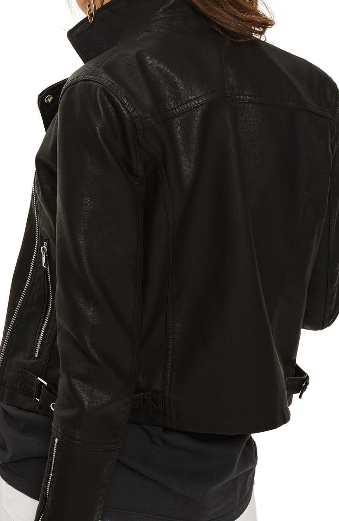 Daze Faux Leather Biker Jacket,                             Alternate thumbnail 2, color,                             001