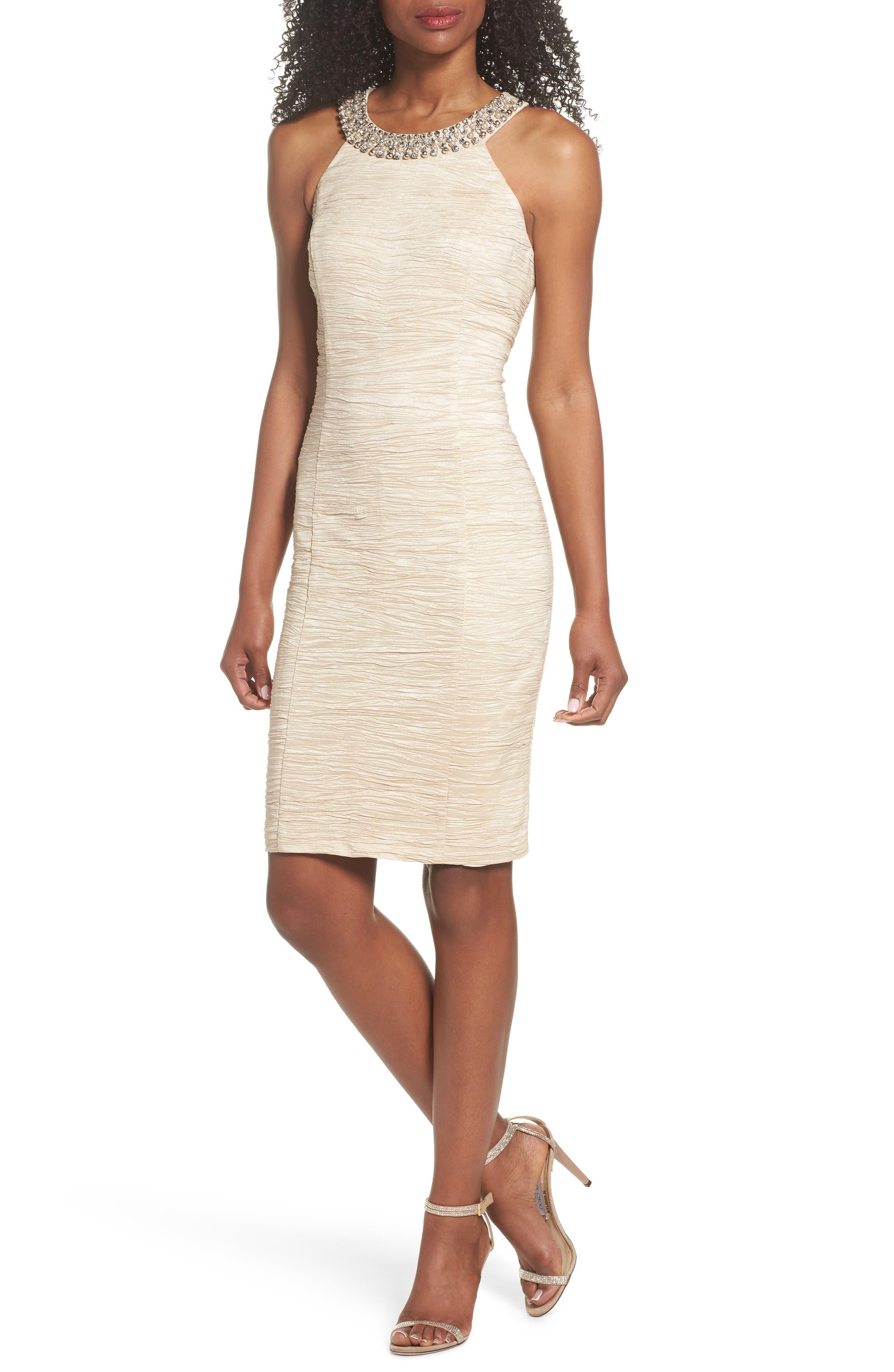 Embellished Crushed Taffeta Sheath Dress,                             Main thumbnail 1, color,                             250