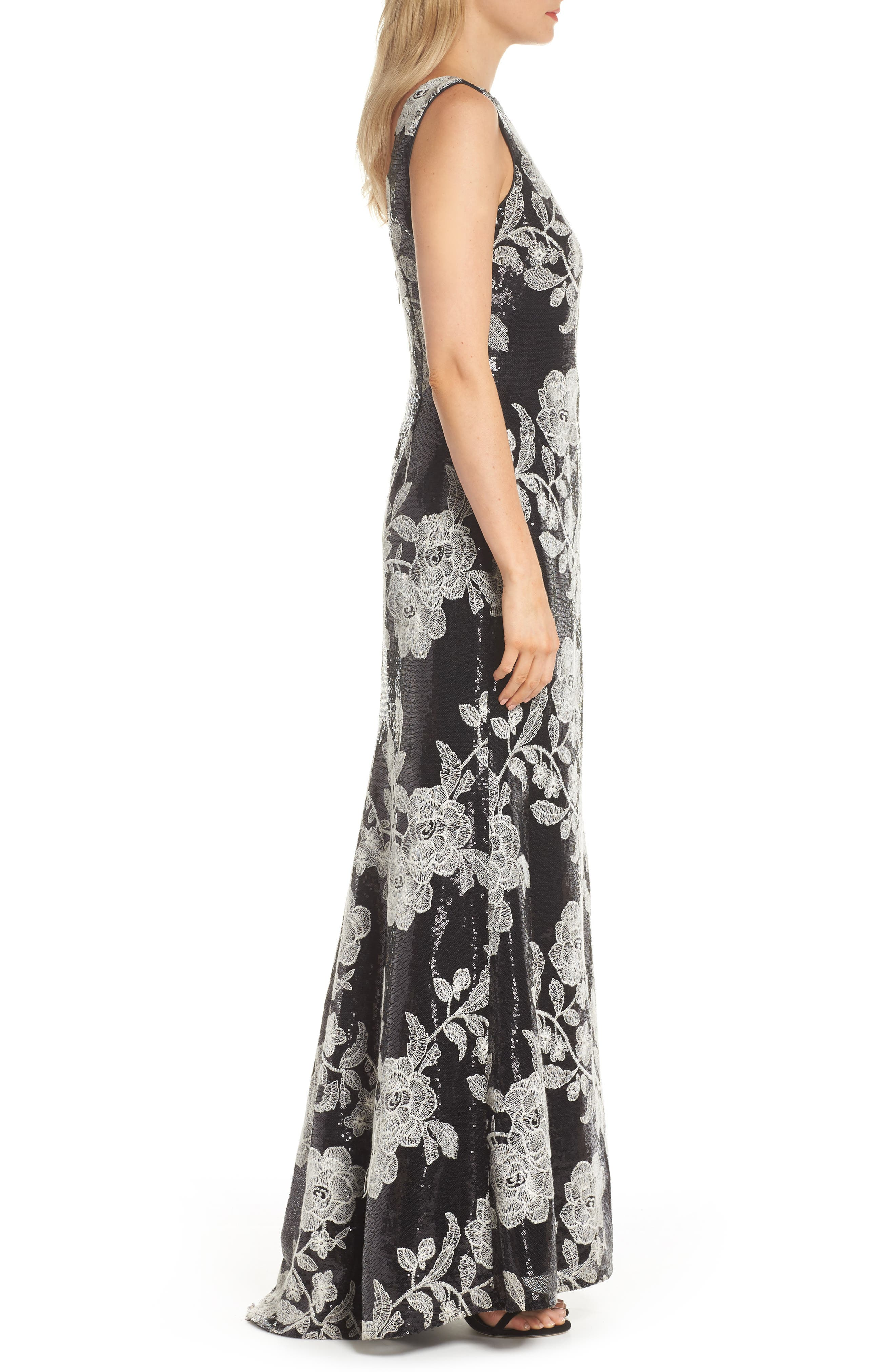 Embroidered Gown,                             Alternate thumbnail 3, color,                             BLACK