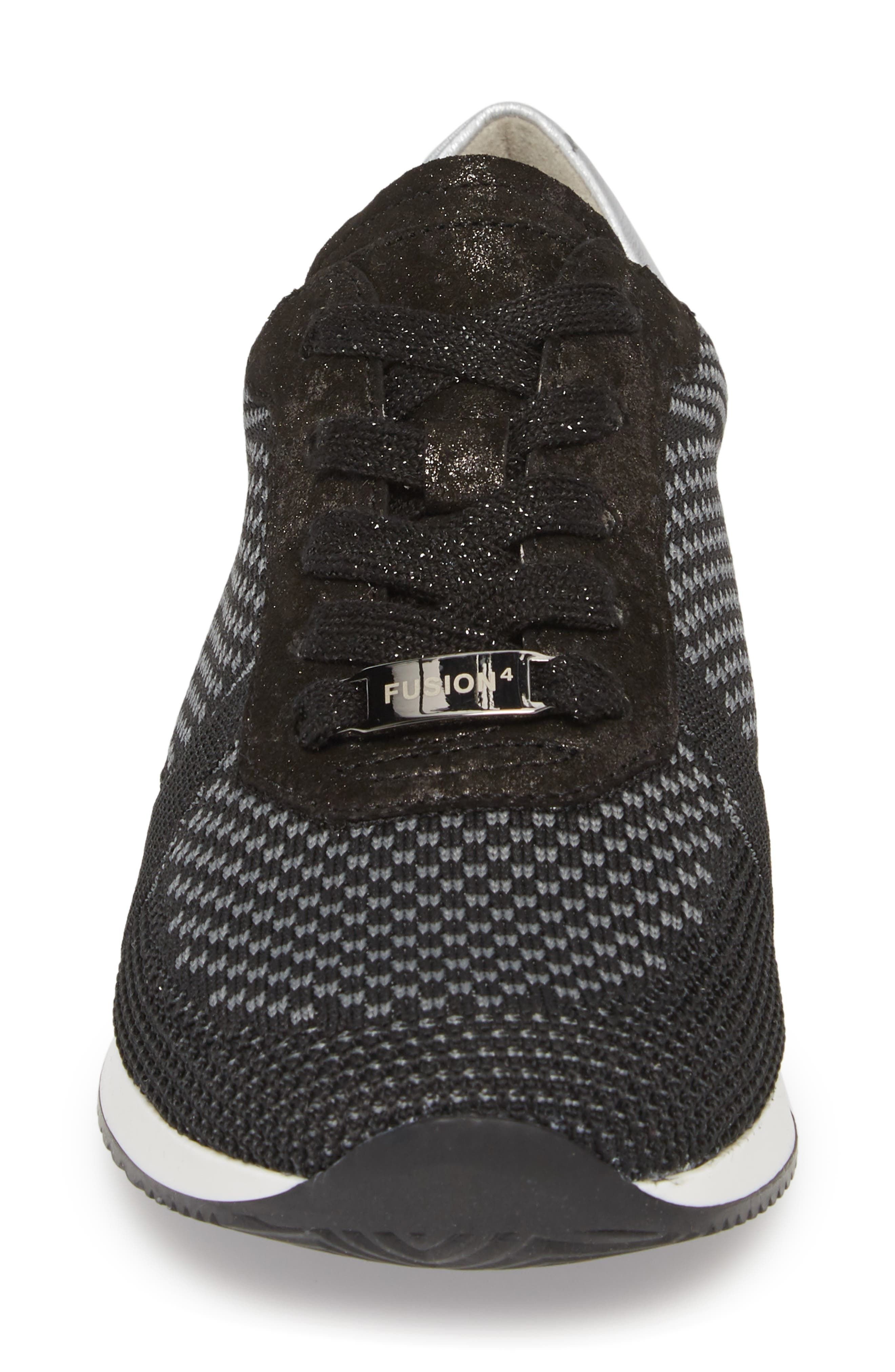 Lilly Sneaker,                             Alternate thumbnail 4, color,                             BLACK FABRIC